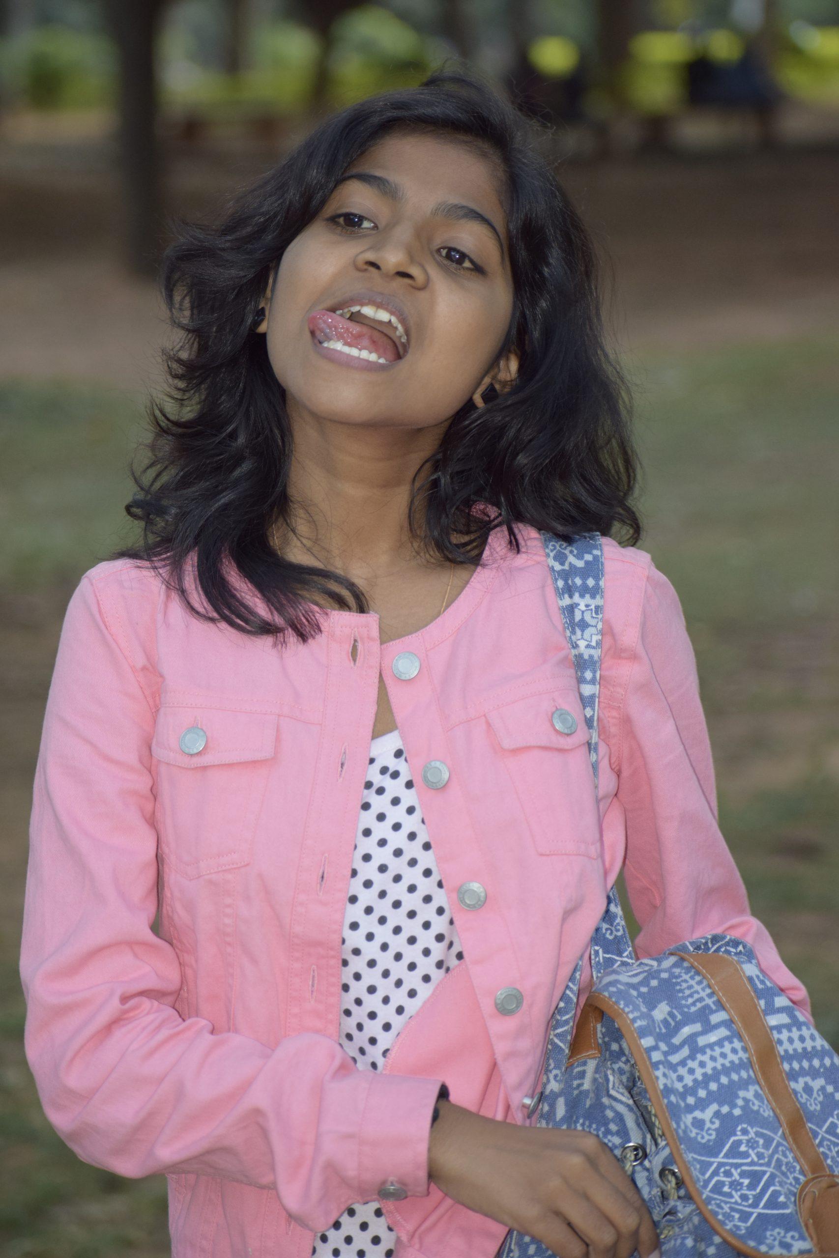 Indian girl licking