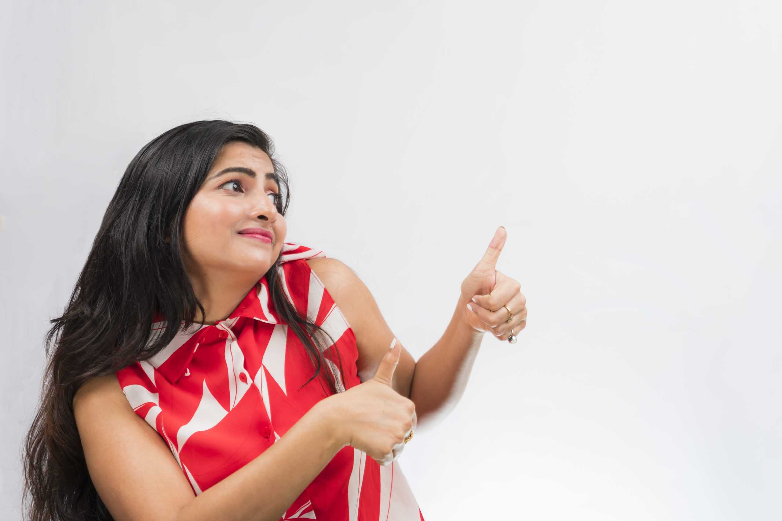 Indian girl gesturing all the best
