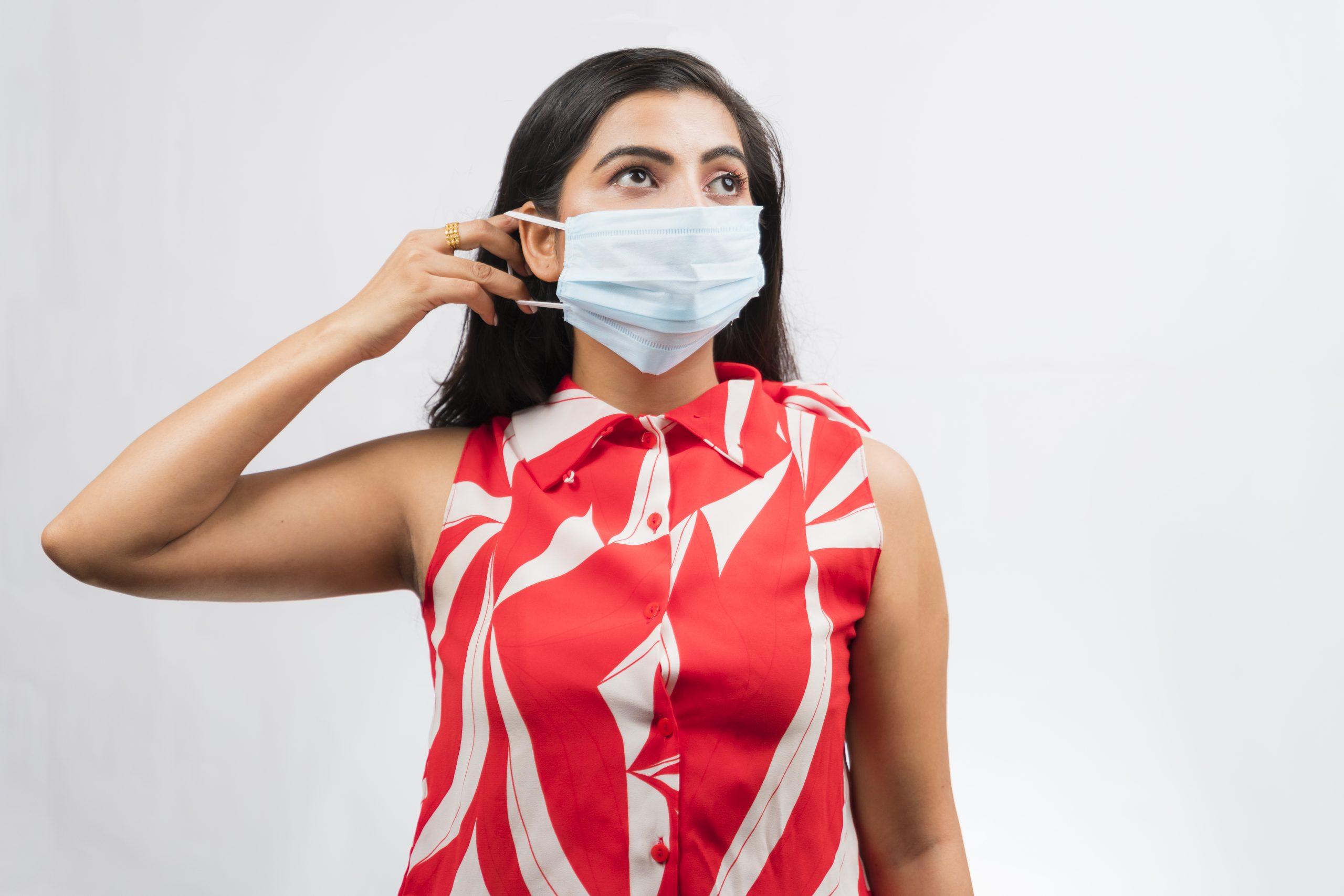Indian girl wearing mask
