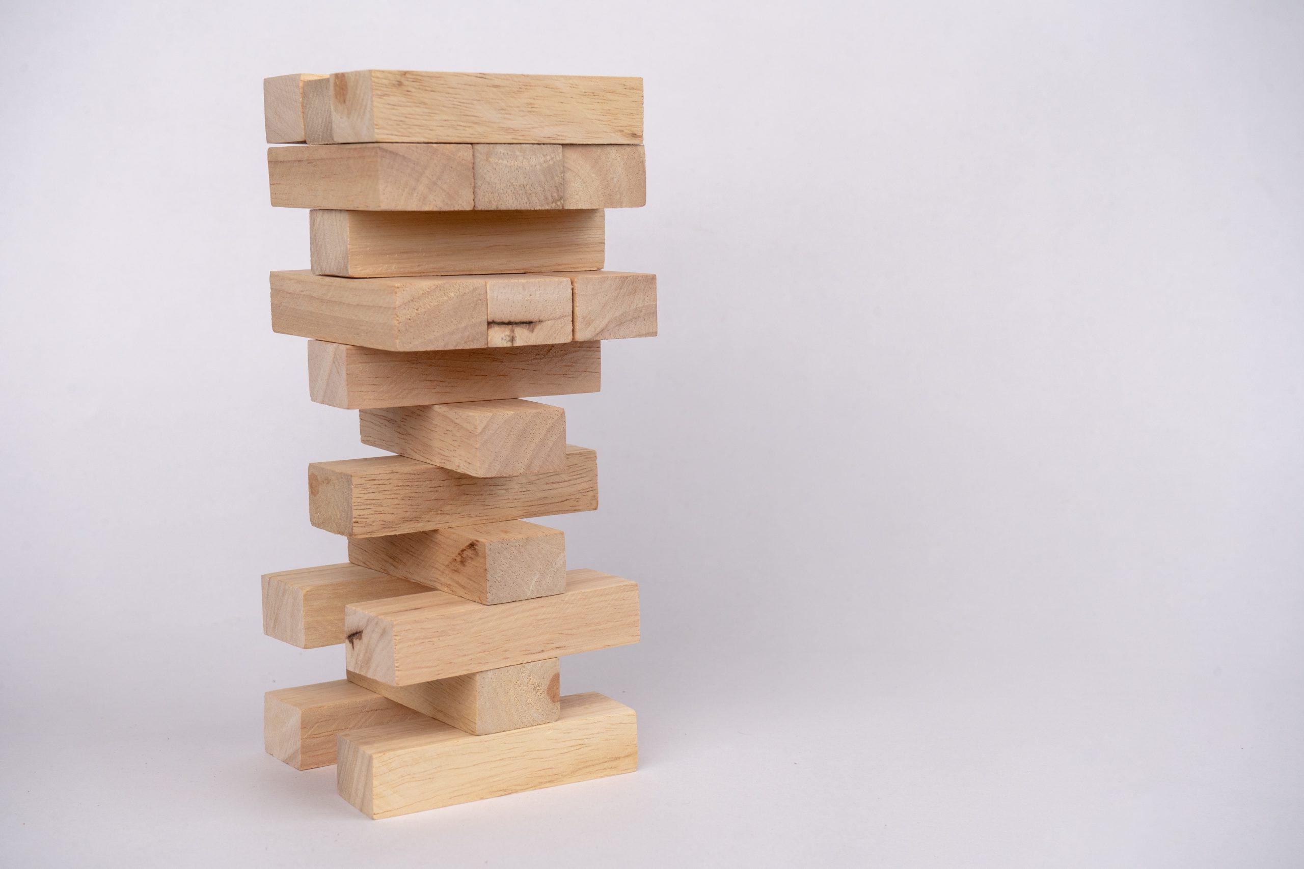 Stack of jenga blocks
