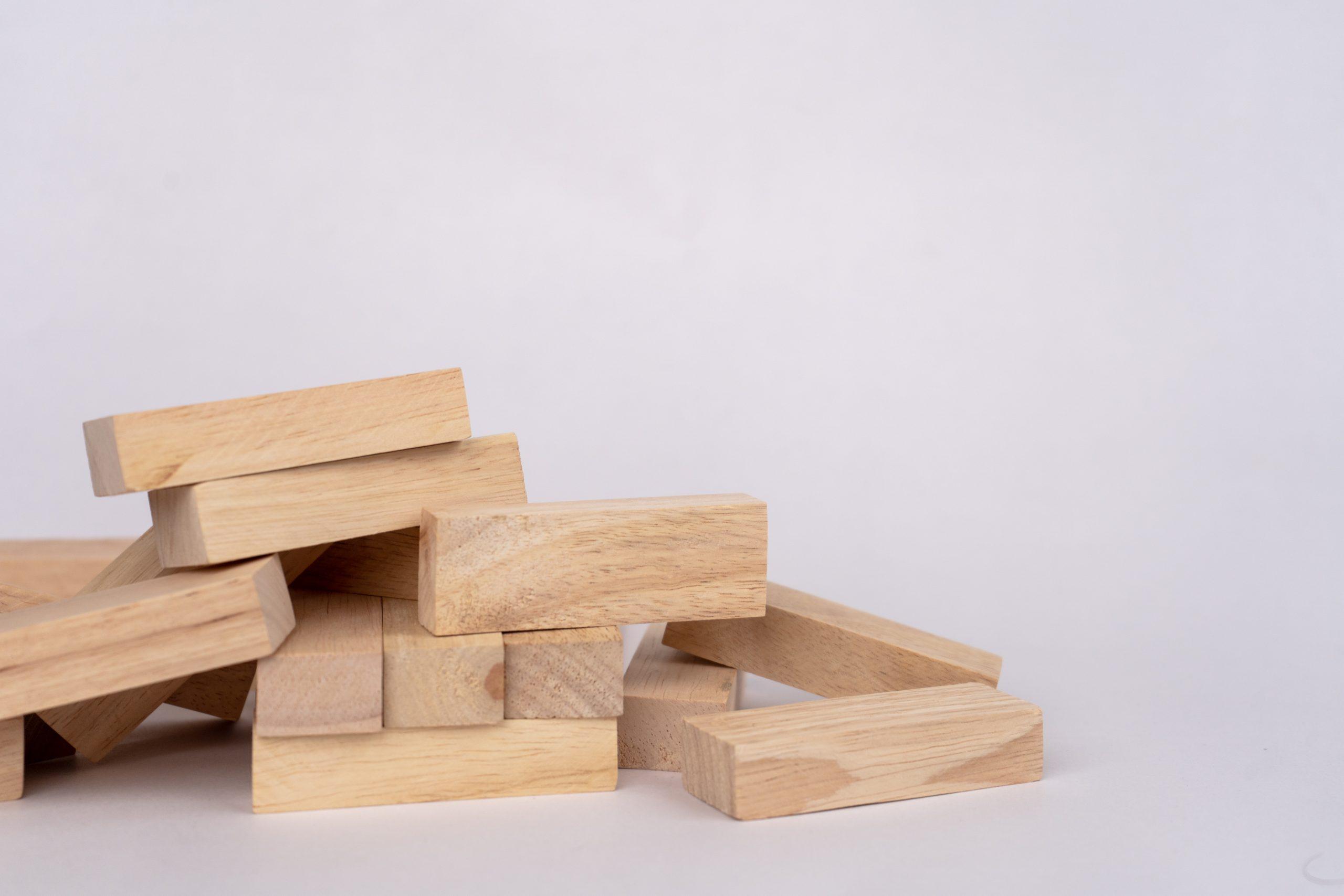 Jenga pieces on ground