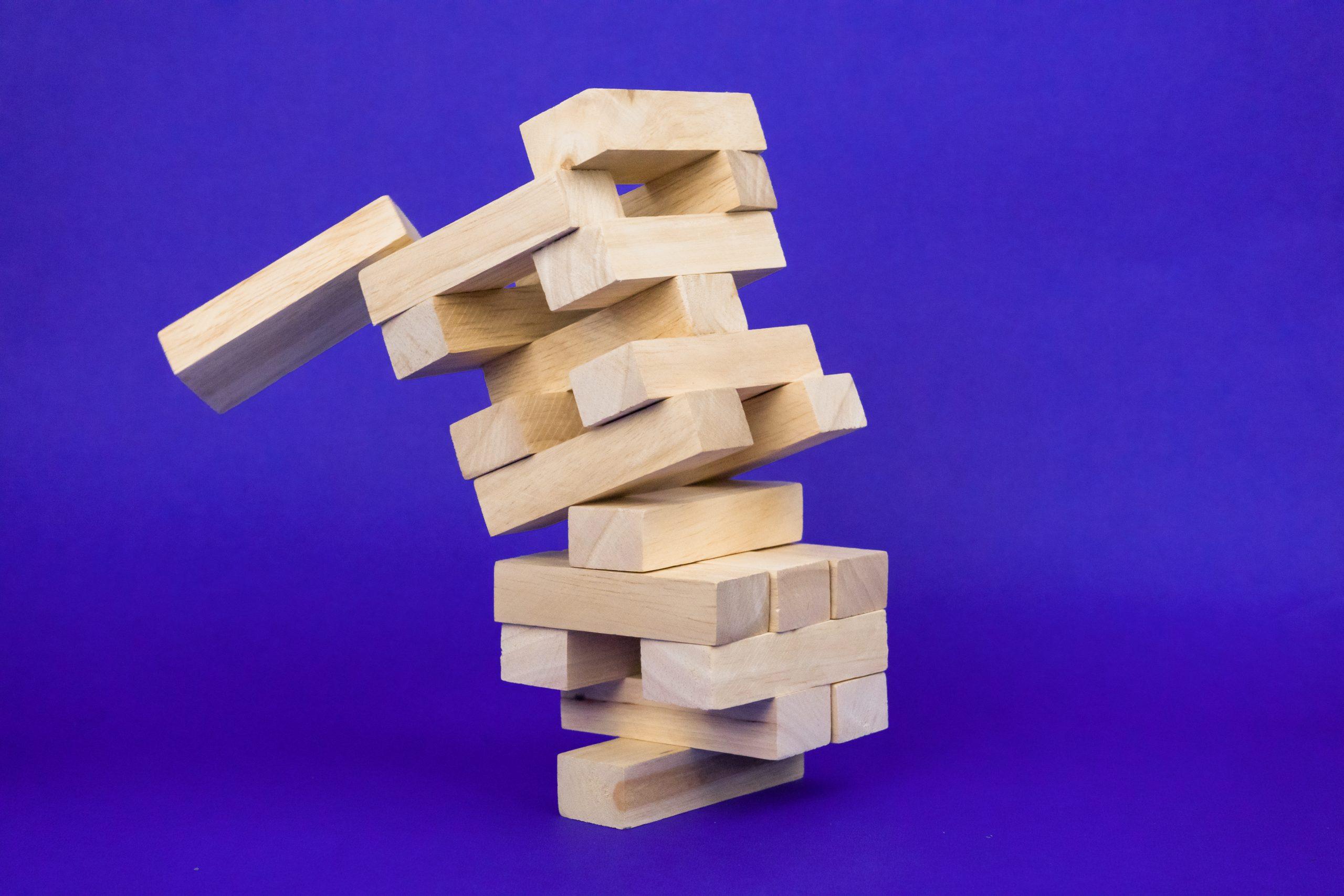 Jenga tower falling