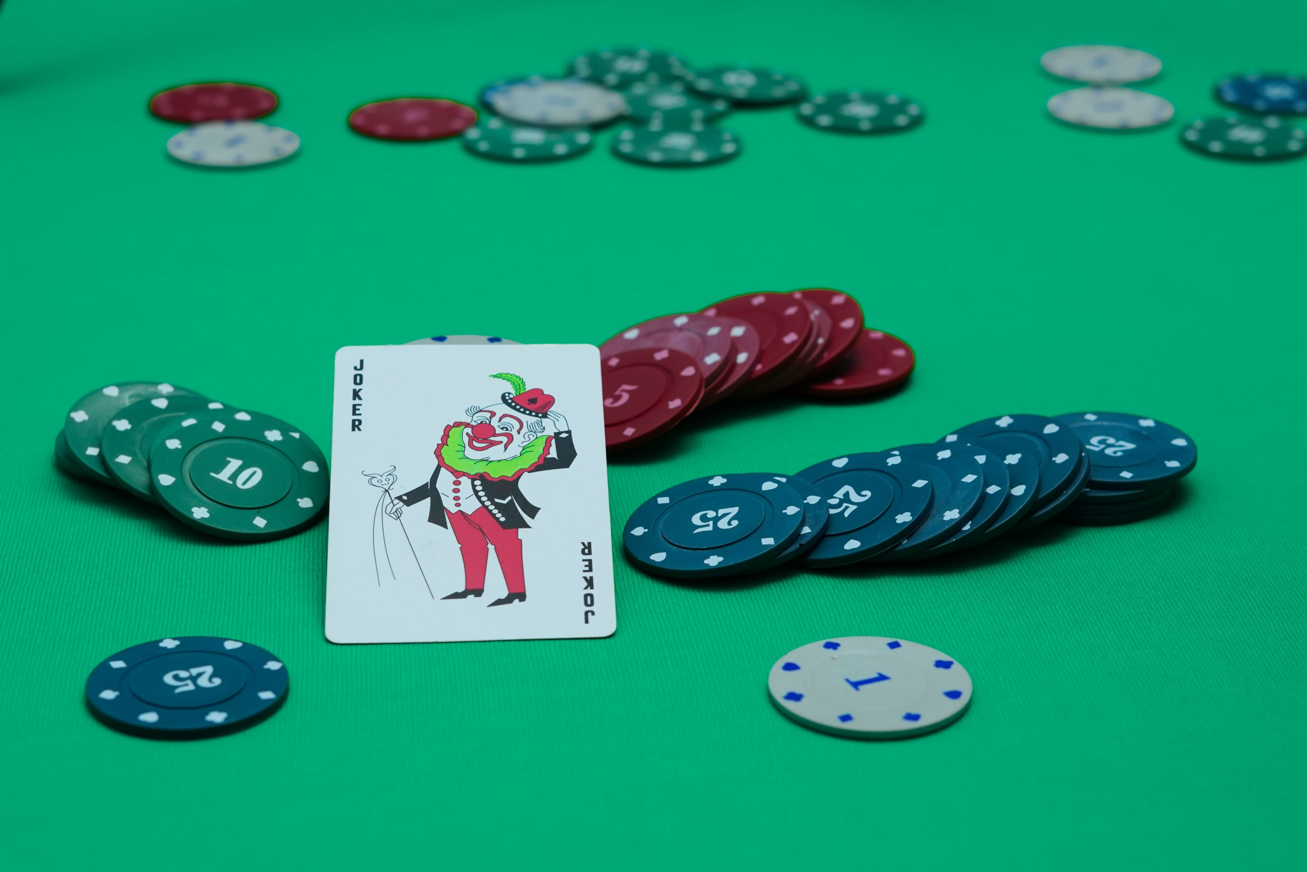 Joker card and poker coins on a table.