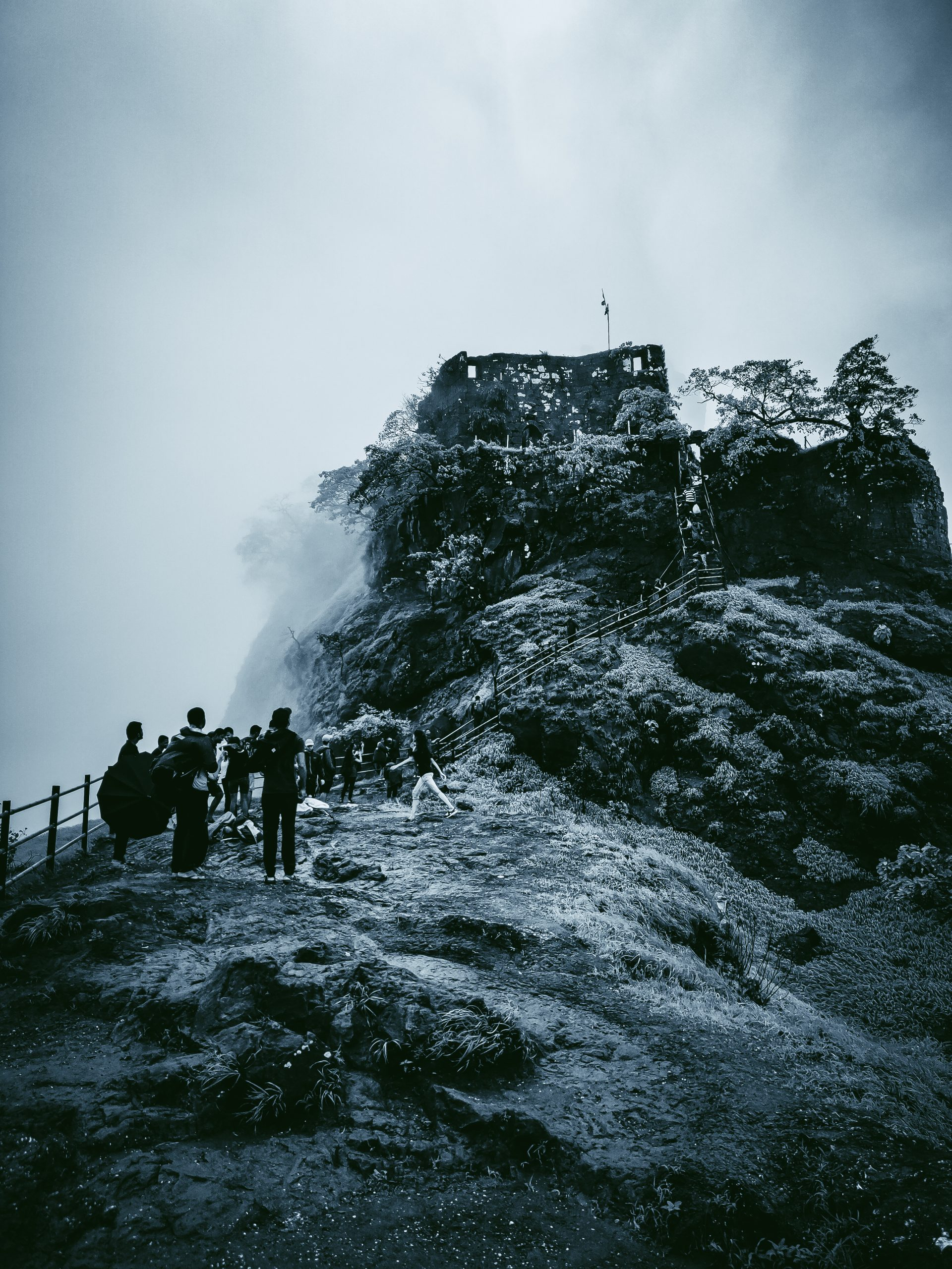 tourists at a hill station