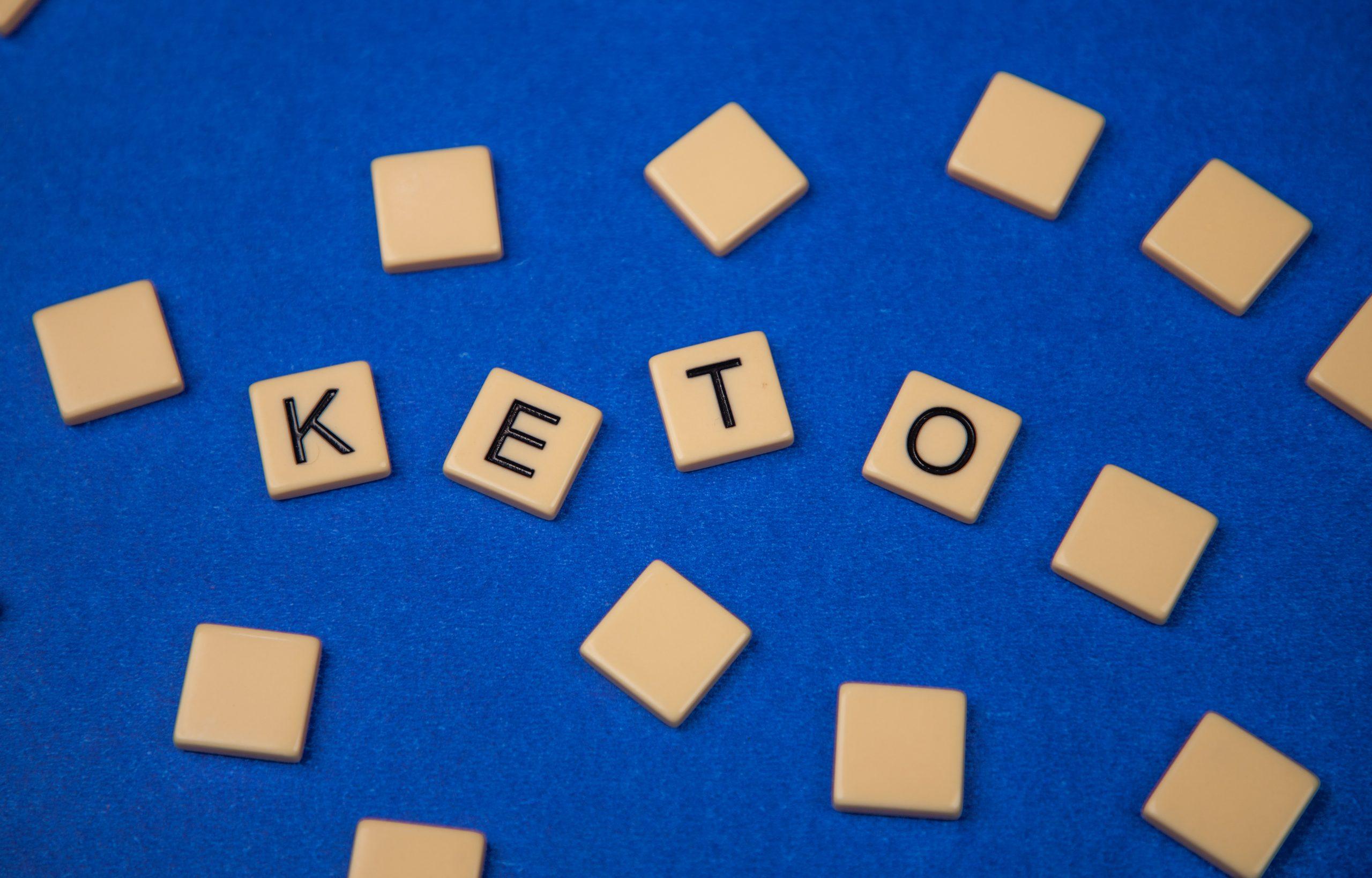 Keto written with scrabble