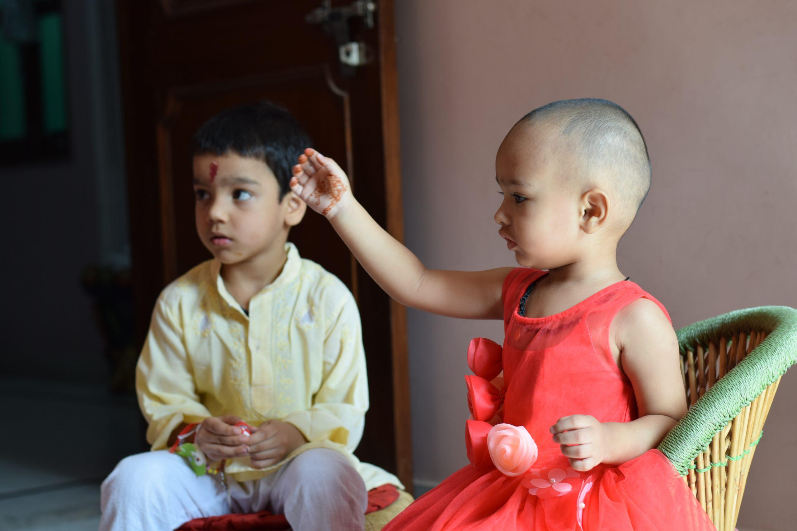 Kids celebrating Raksha Bandhan
