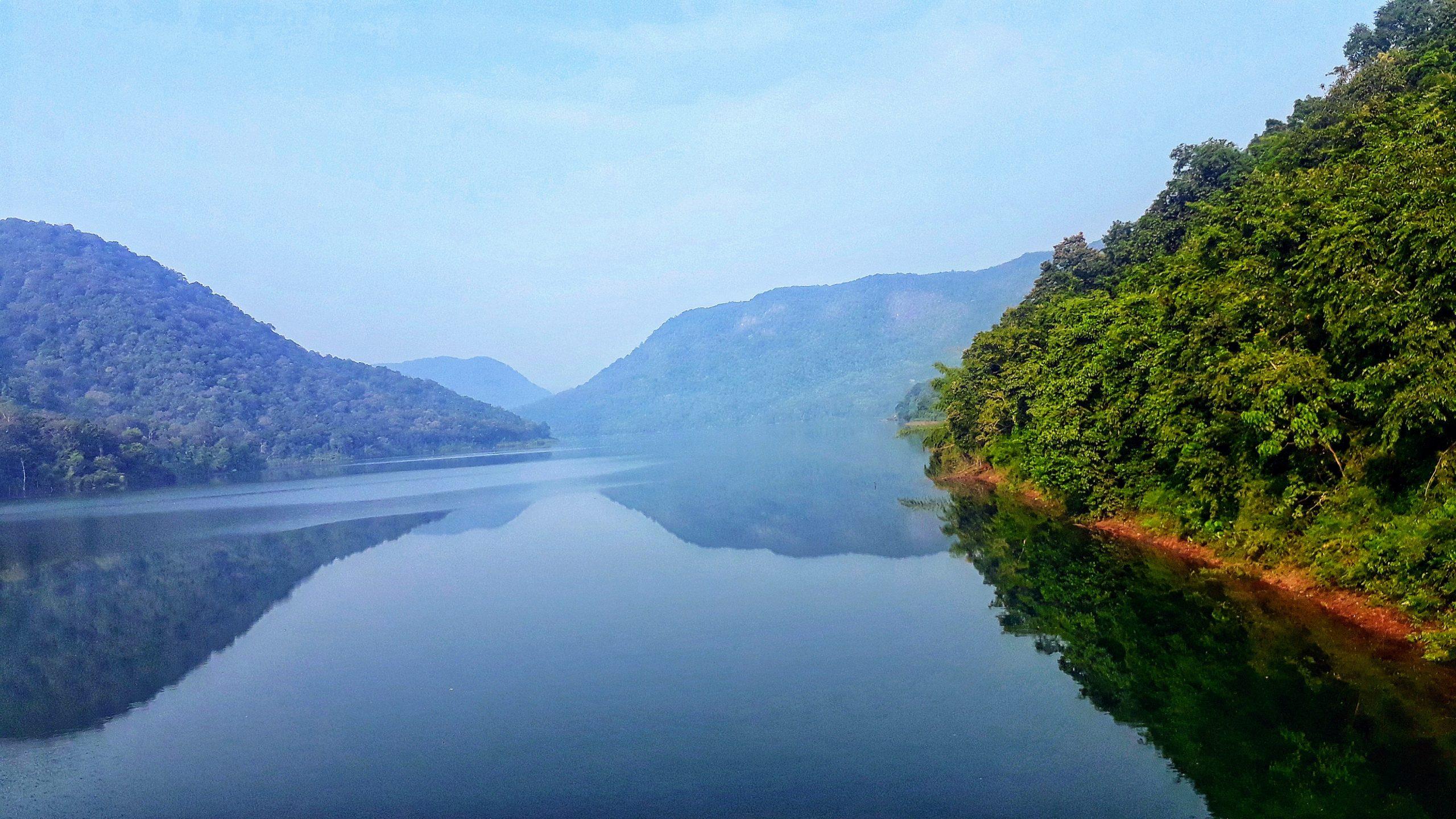 A lake amidst hills.