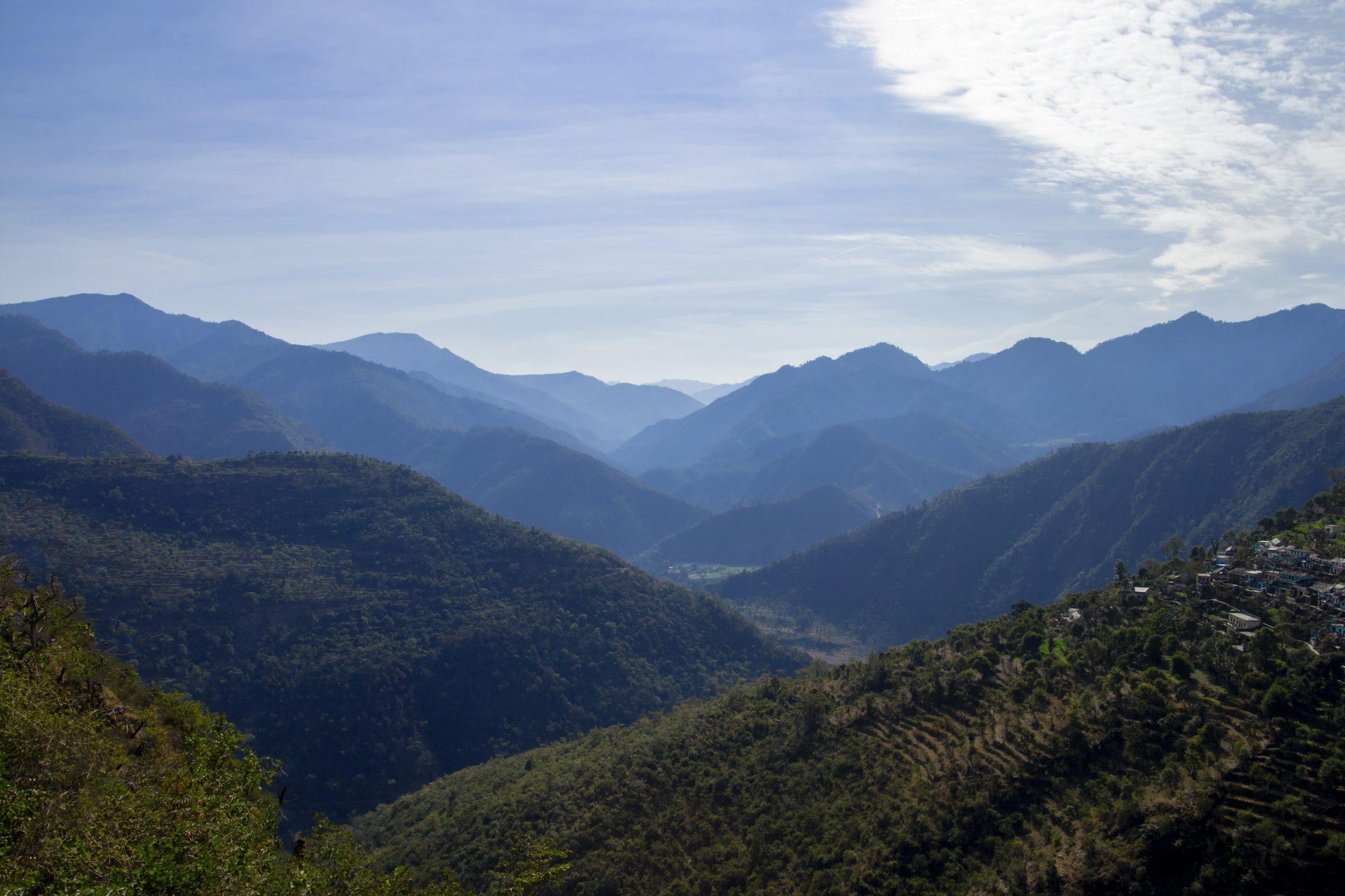 Scenery of mountains of Uttarakhand.
