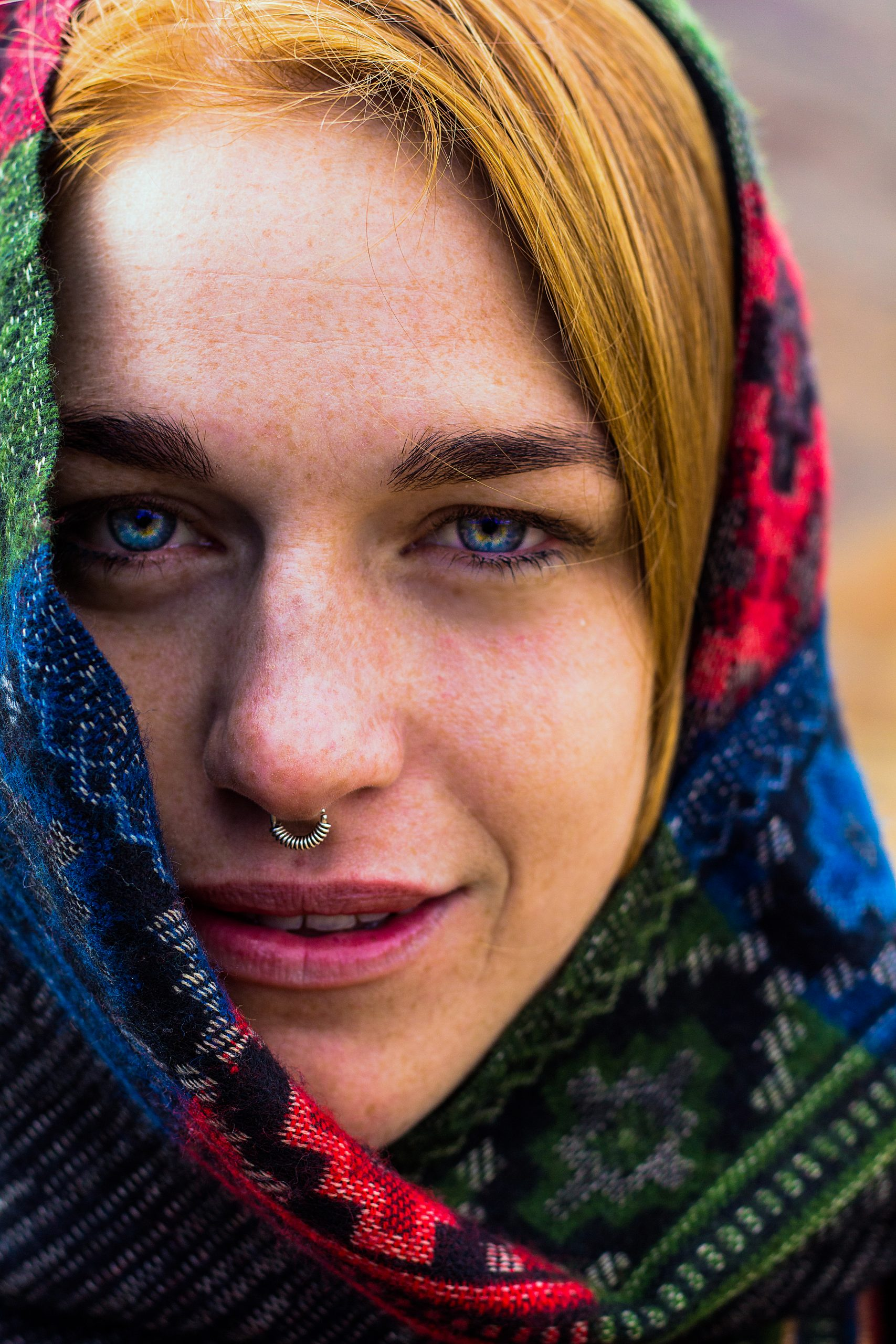 Portrait of a foreigner woman.