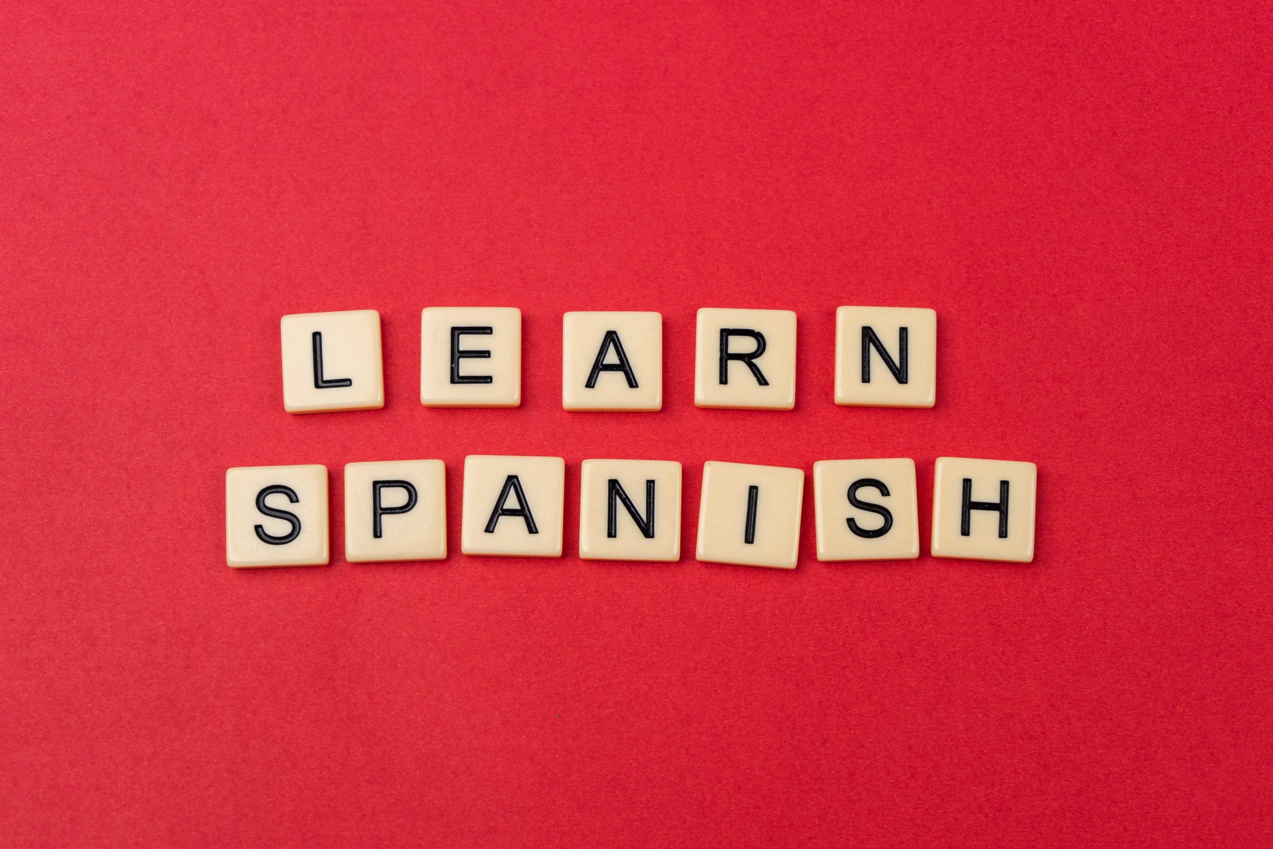 Learn spanish written with scrabble