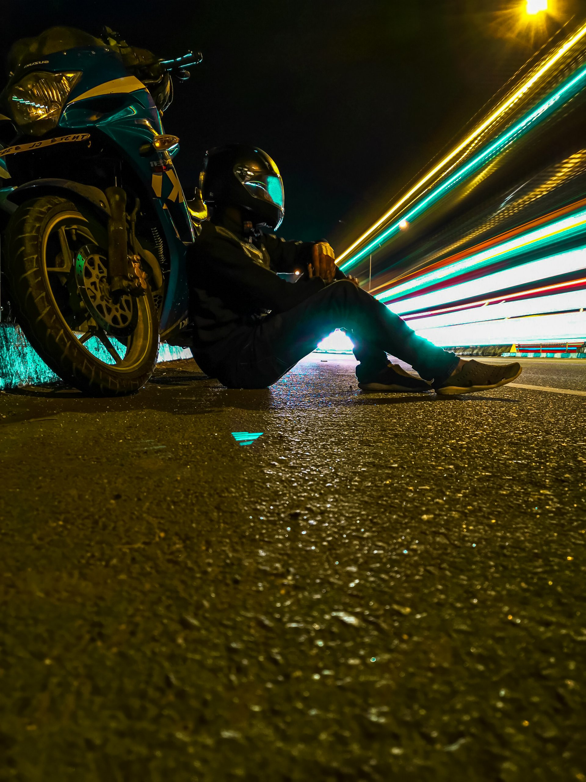 Light trails and biker