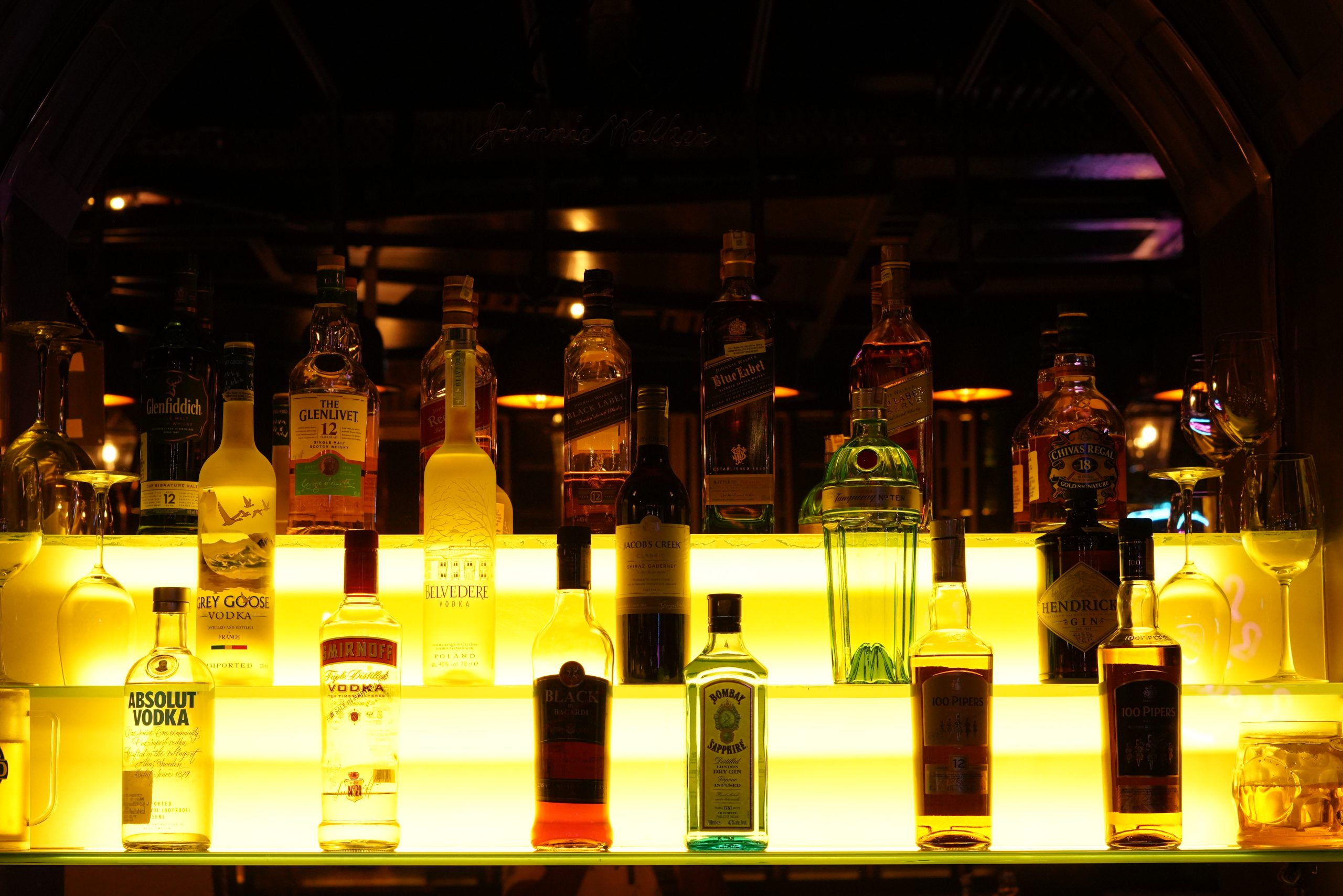 Liquor Bottles in a Bar