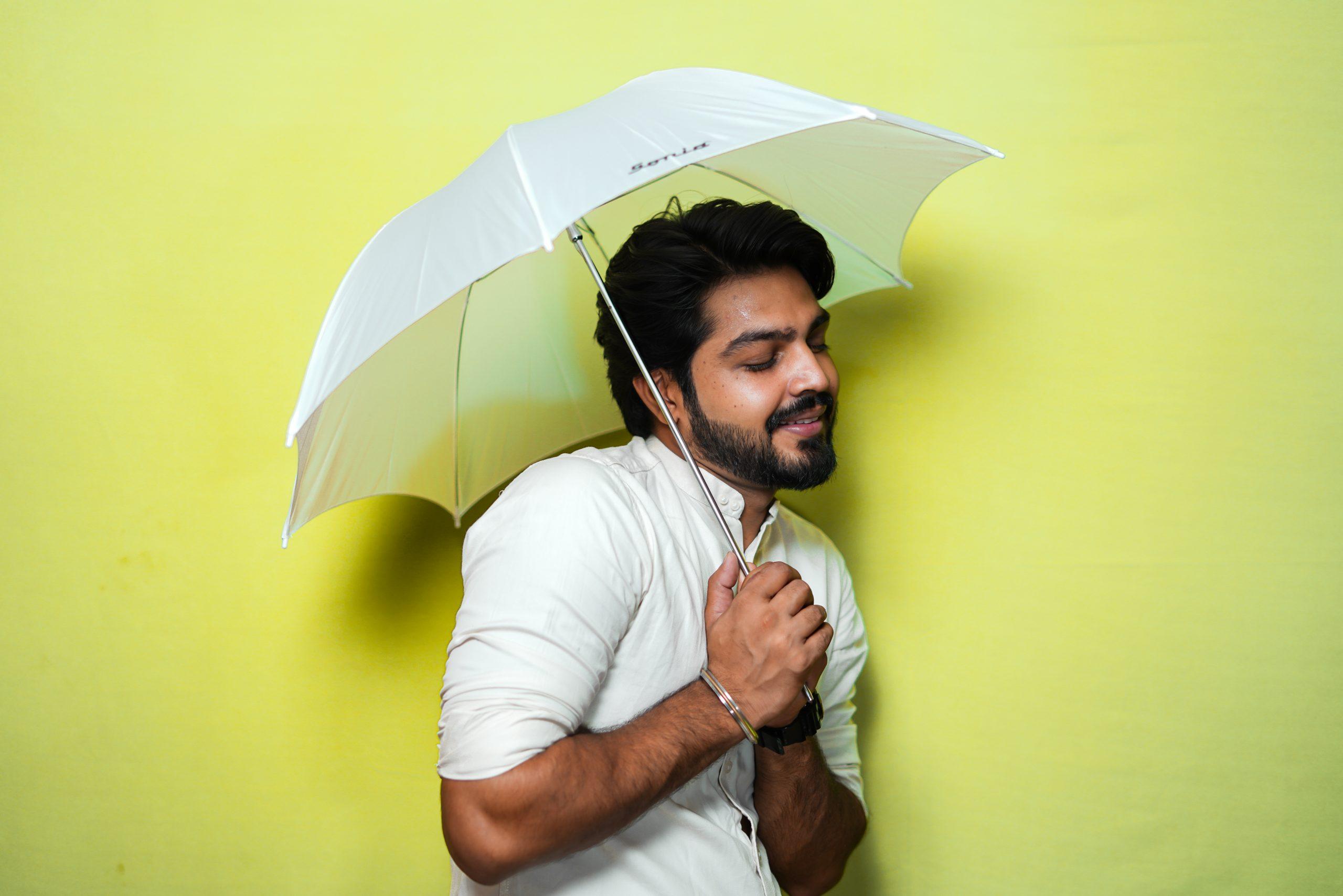 Man under an umbrella