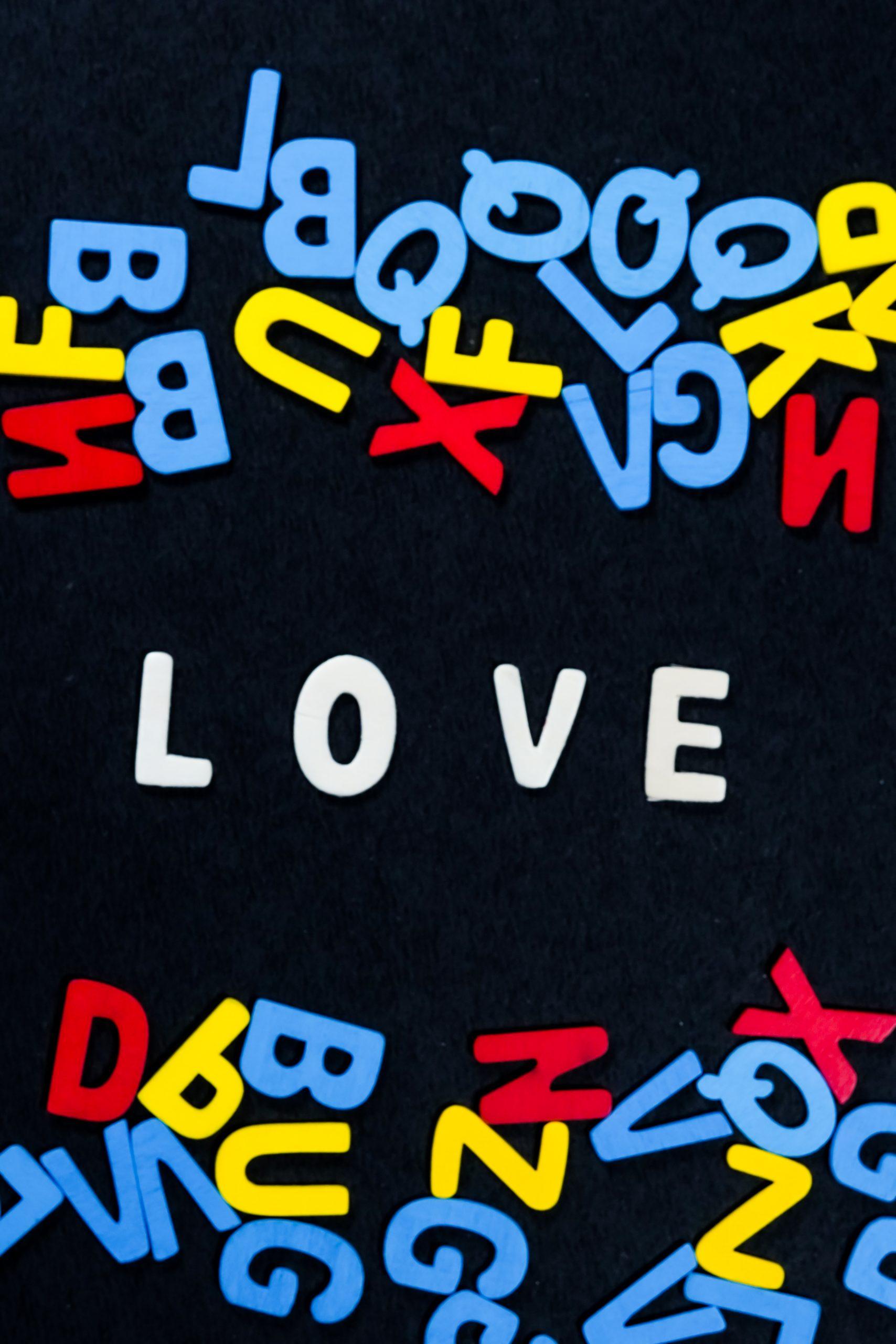 Love written with scrabble