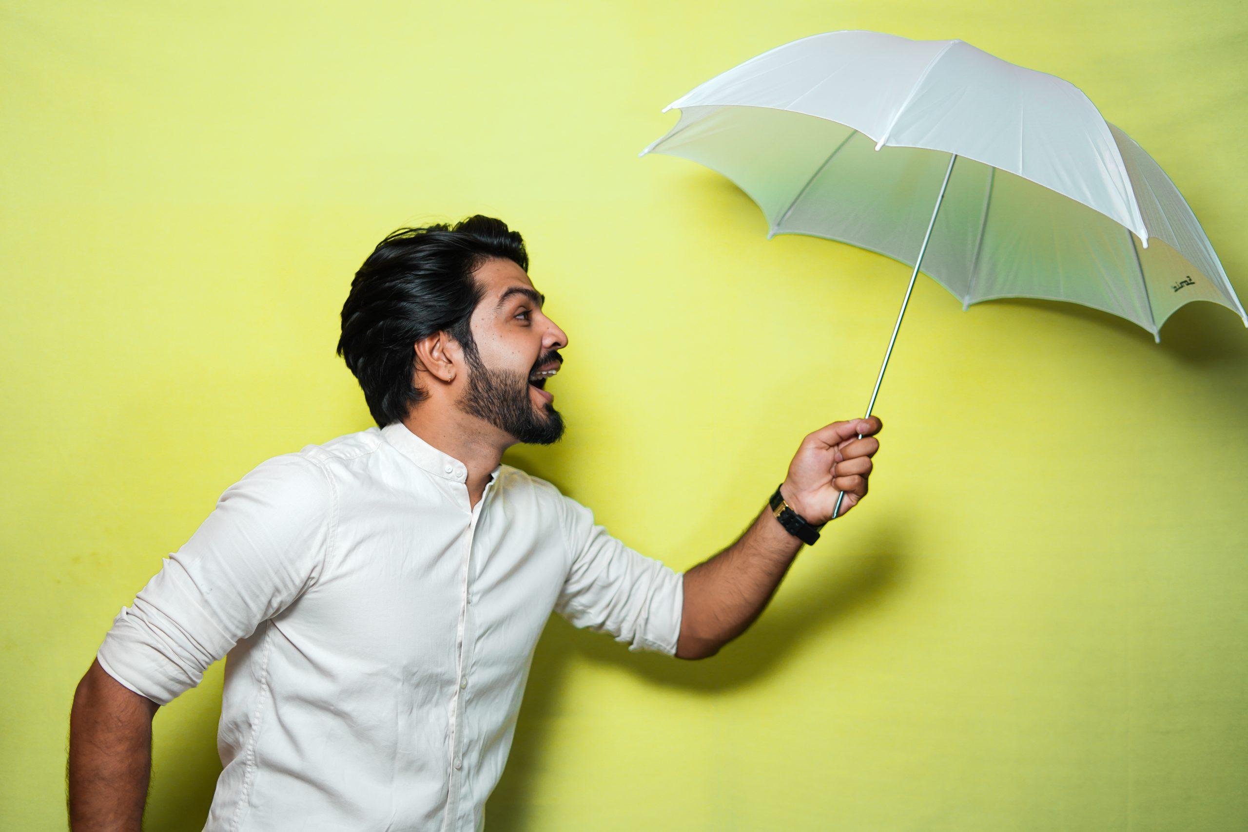 Male with umbrella