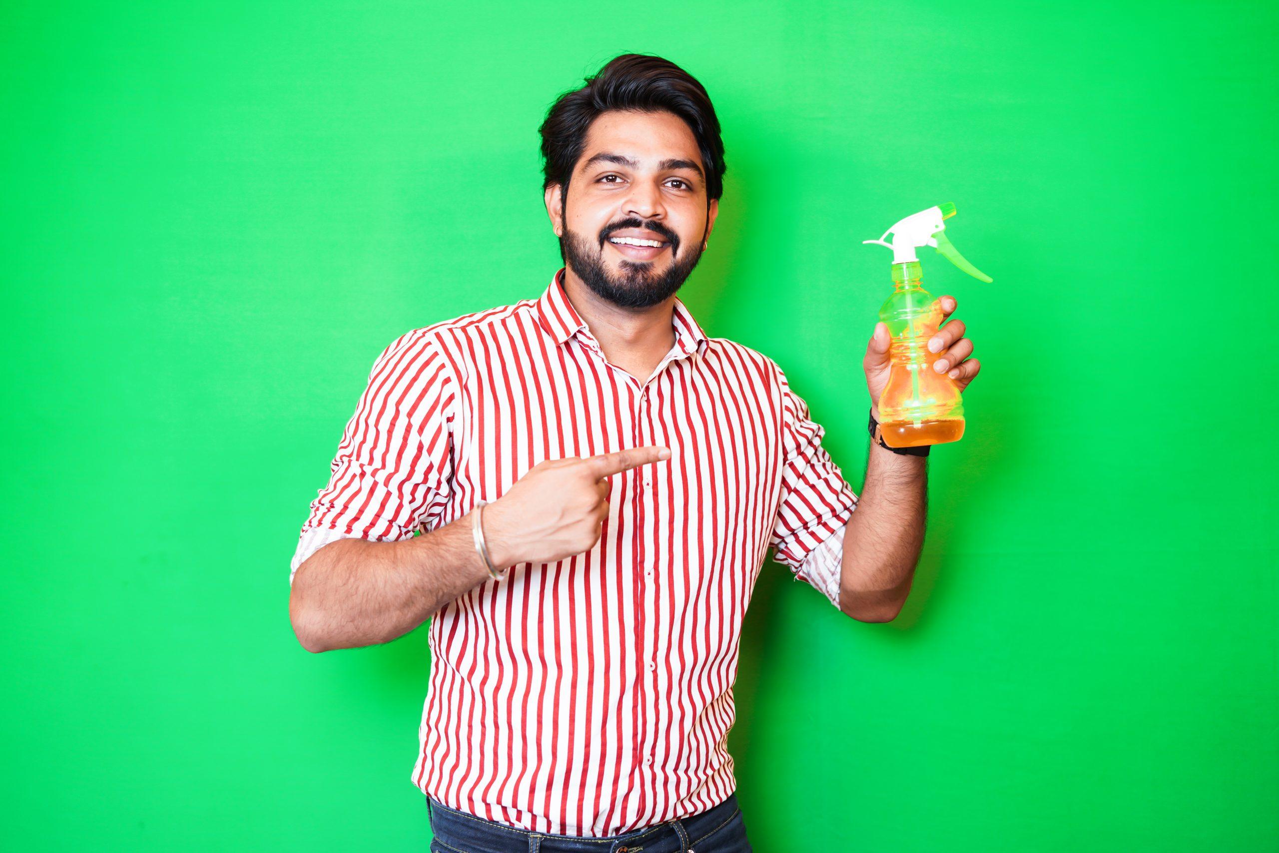 Man Showing Hand sanitizer