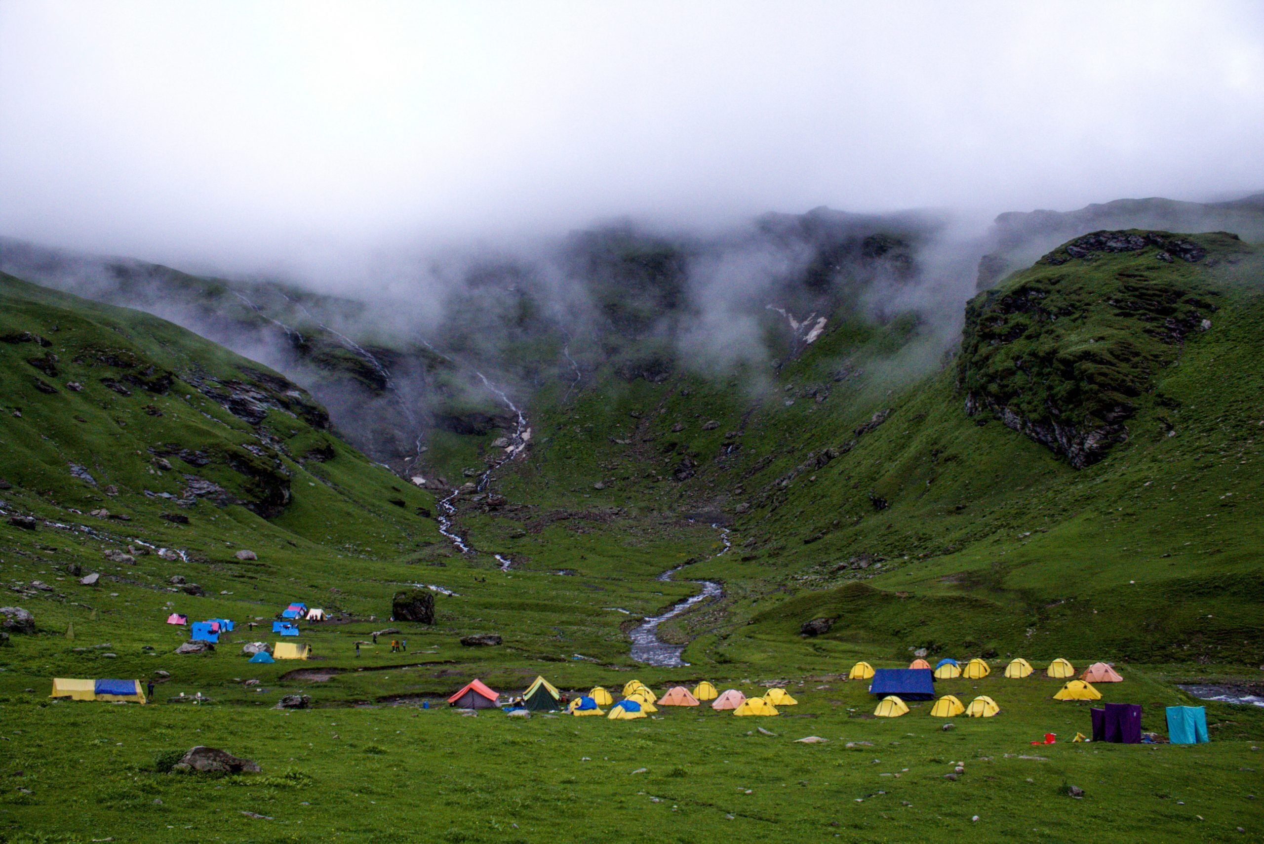 Camping in a hilly area