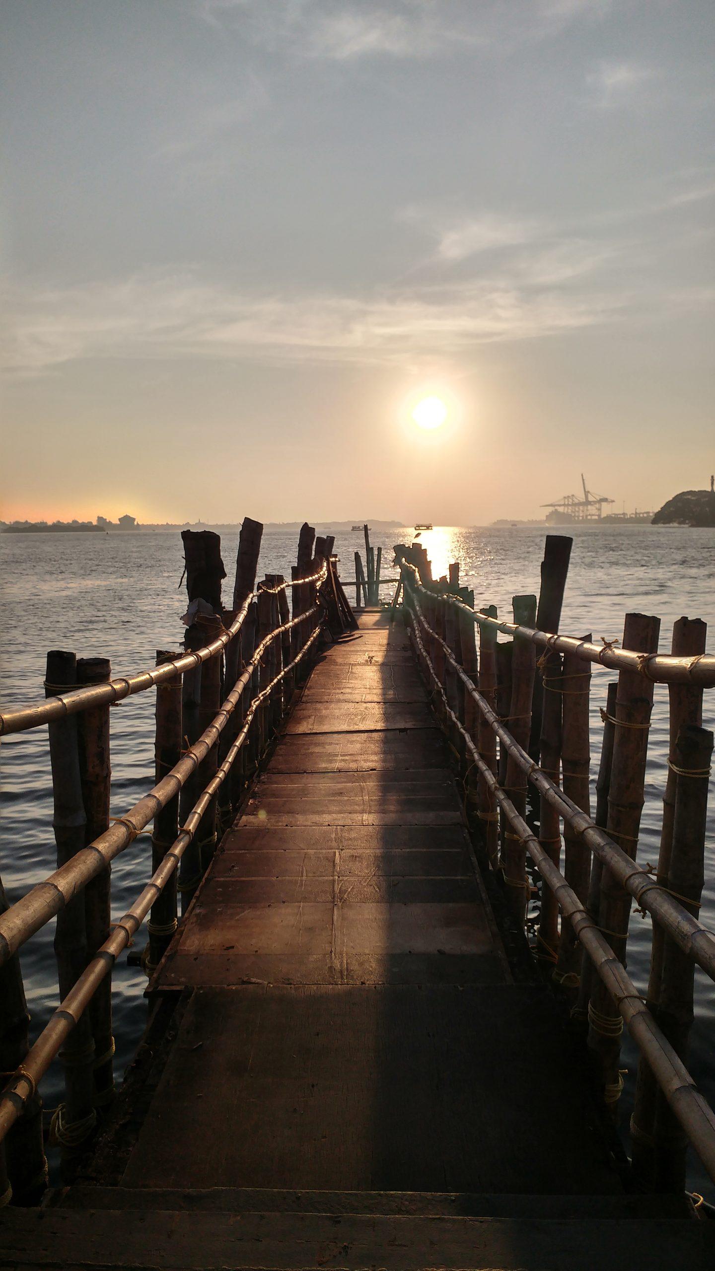 Sunset from a bridge in Marine drive, Kochi.