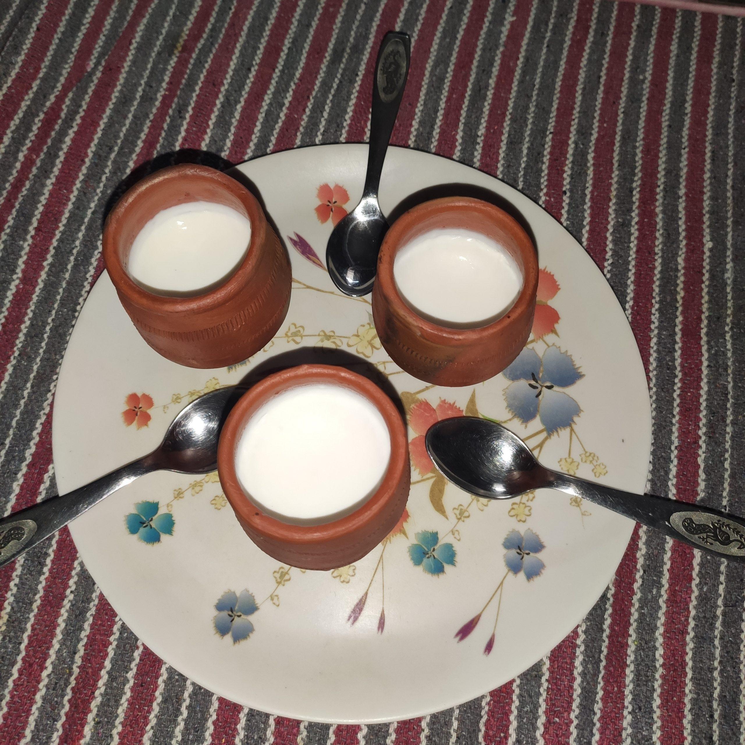 curd in ceramic pots