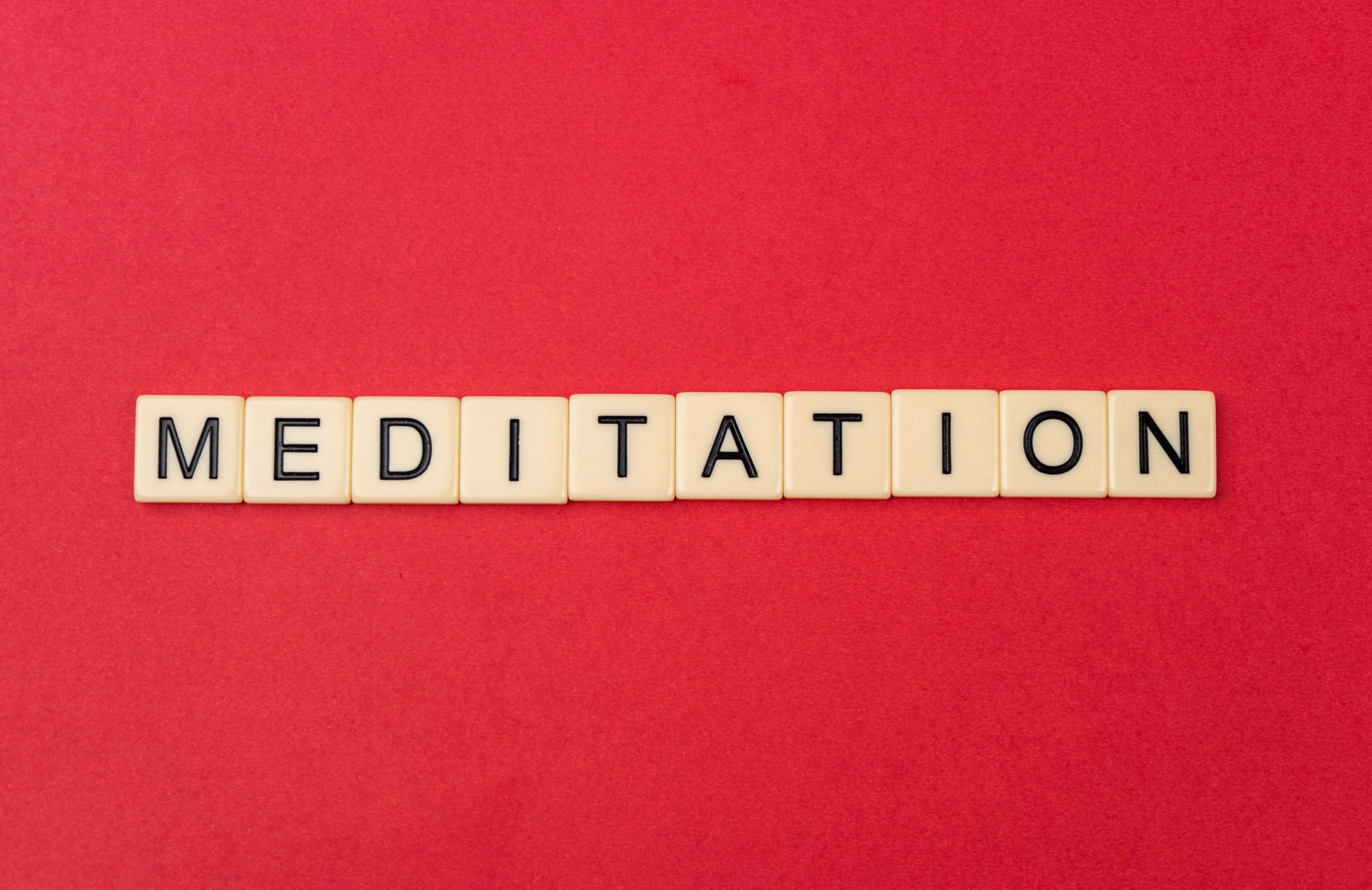 Meditation on Red Background