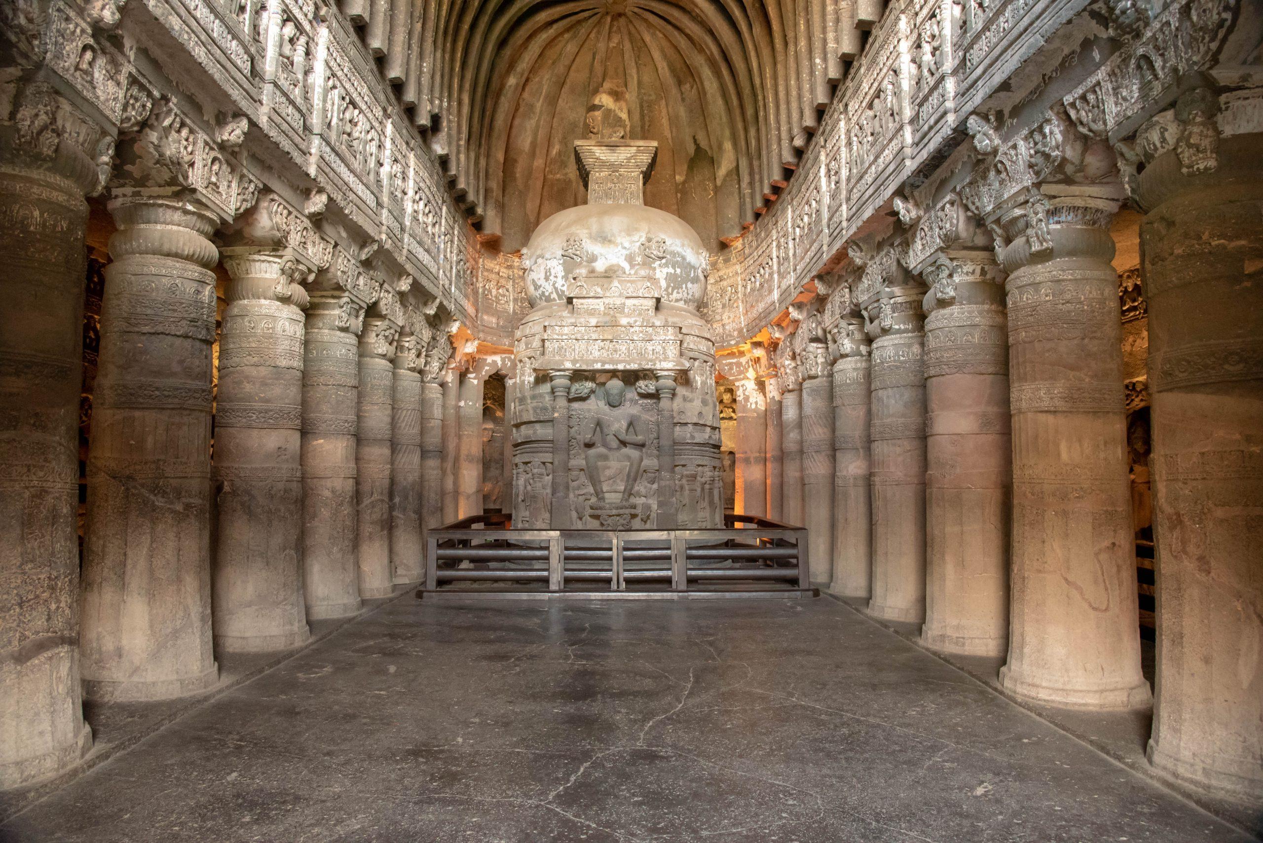 Ancient meditation room in Ajanta Caves.