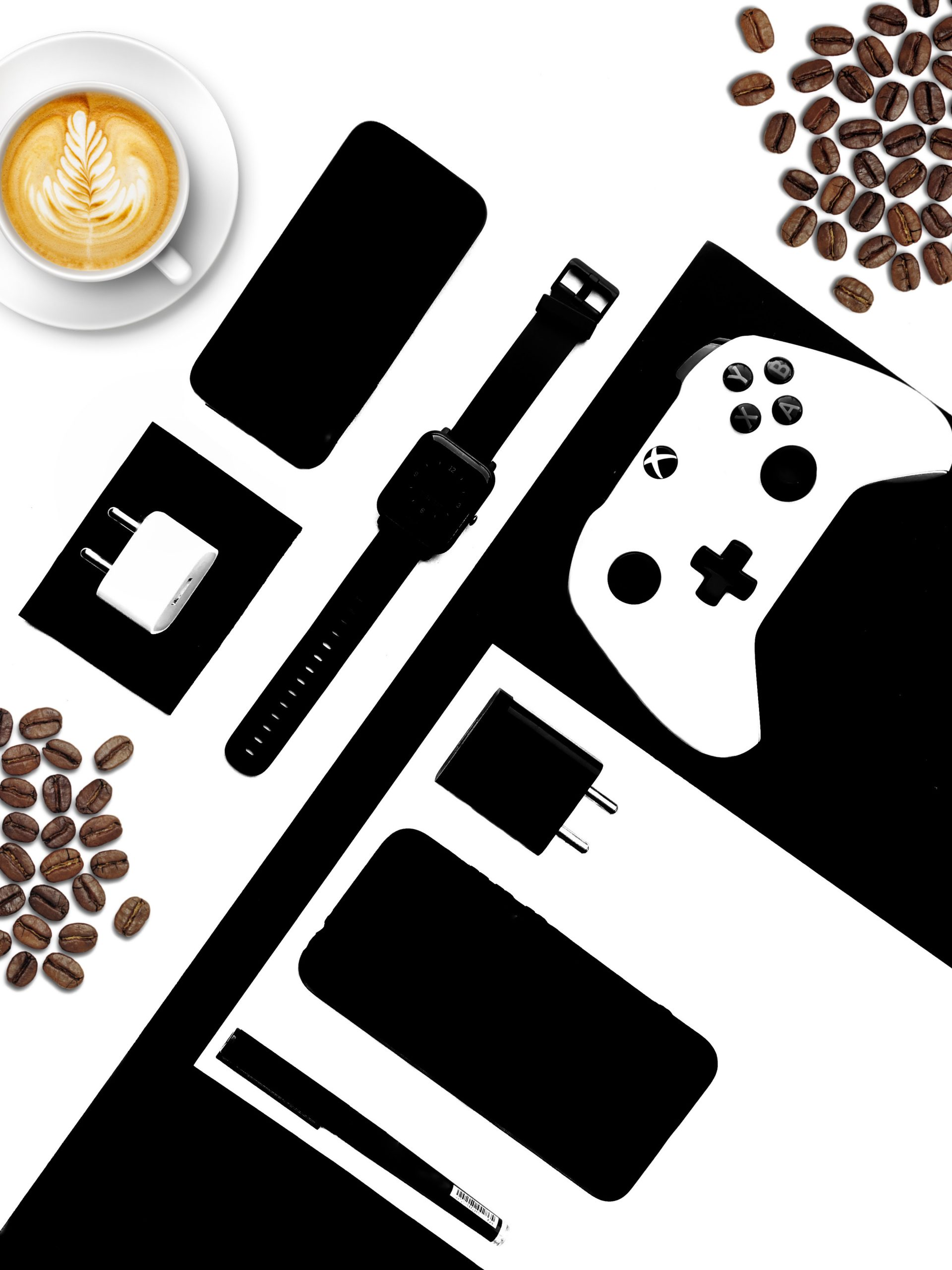Modern lifestyle accessories and gadgets top view