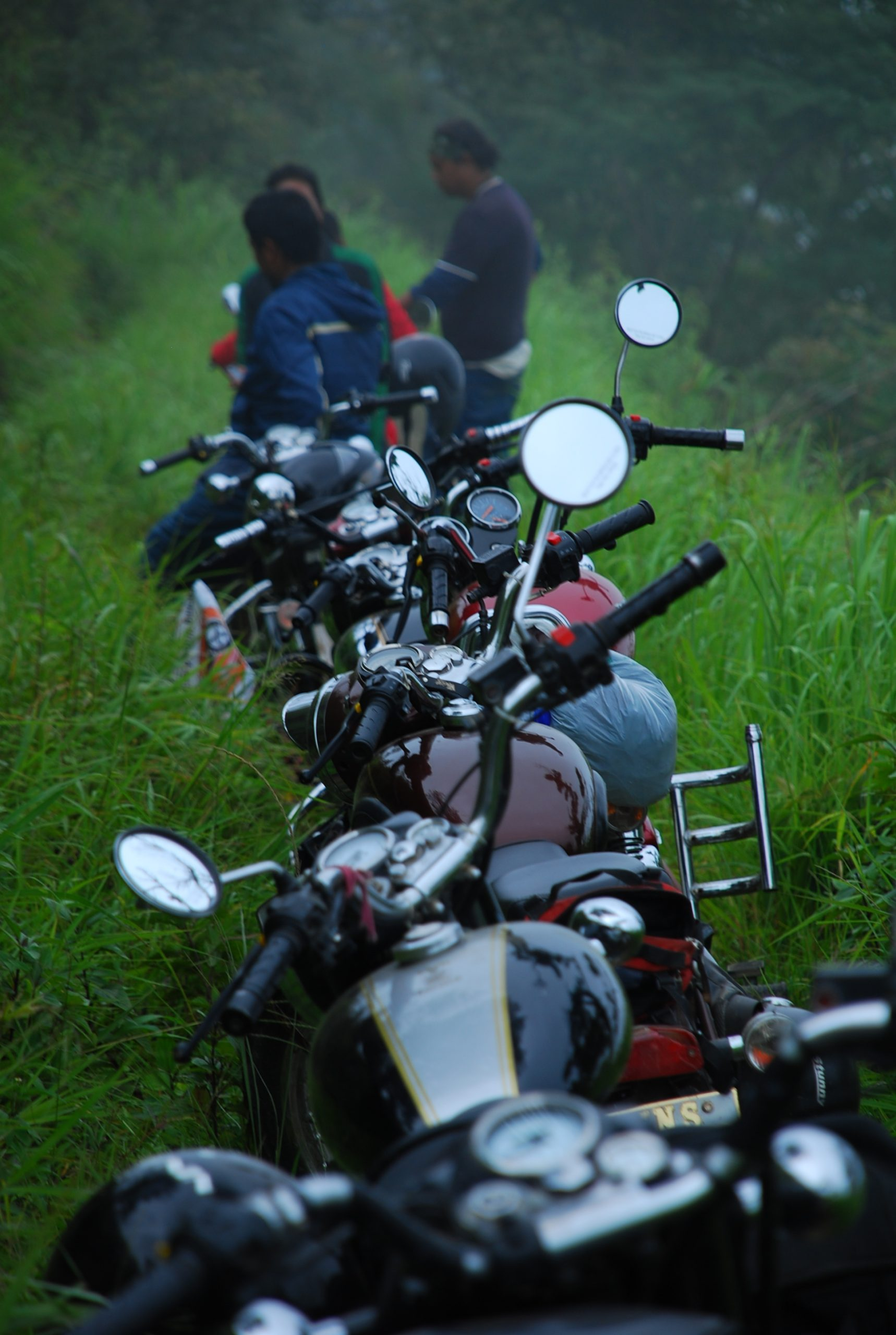 Motorcycles Parked in a Row on the Mountain