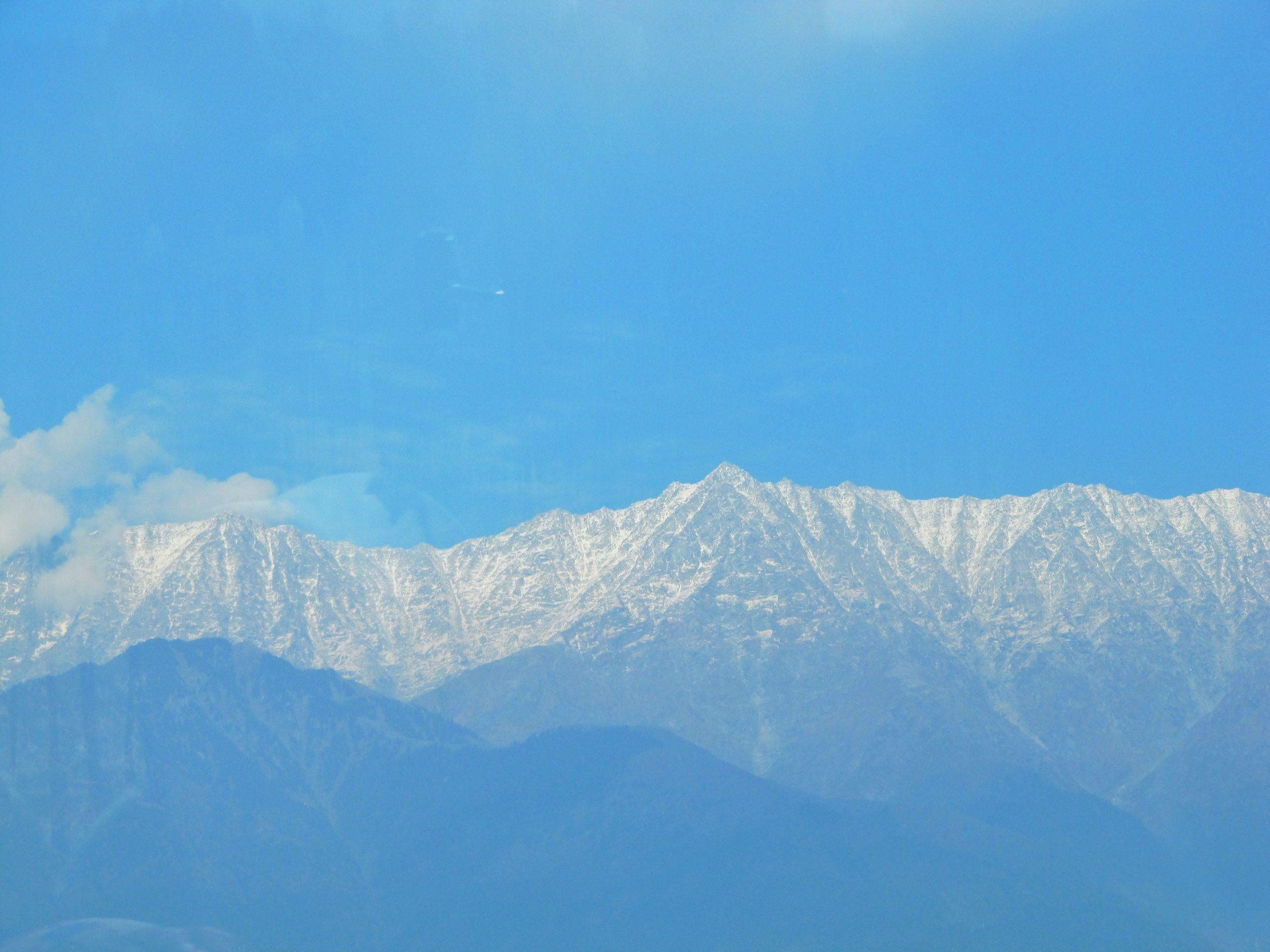 Mountain Range and Bright Sky