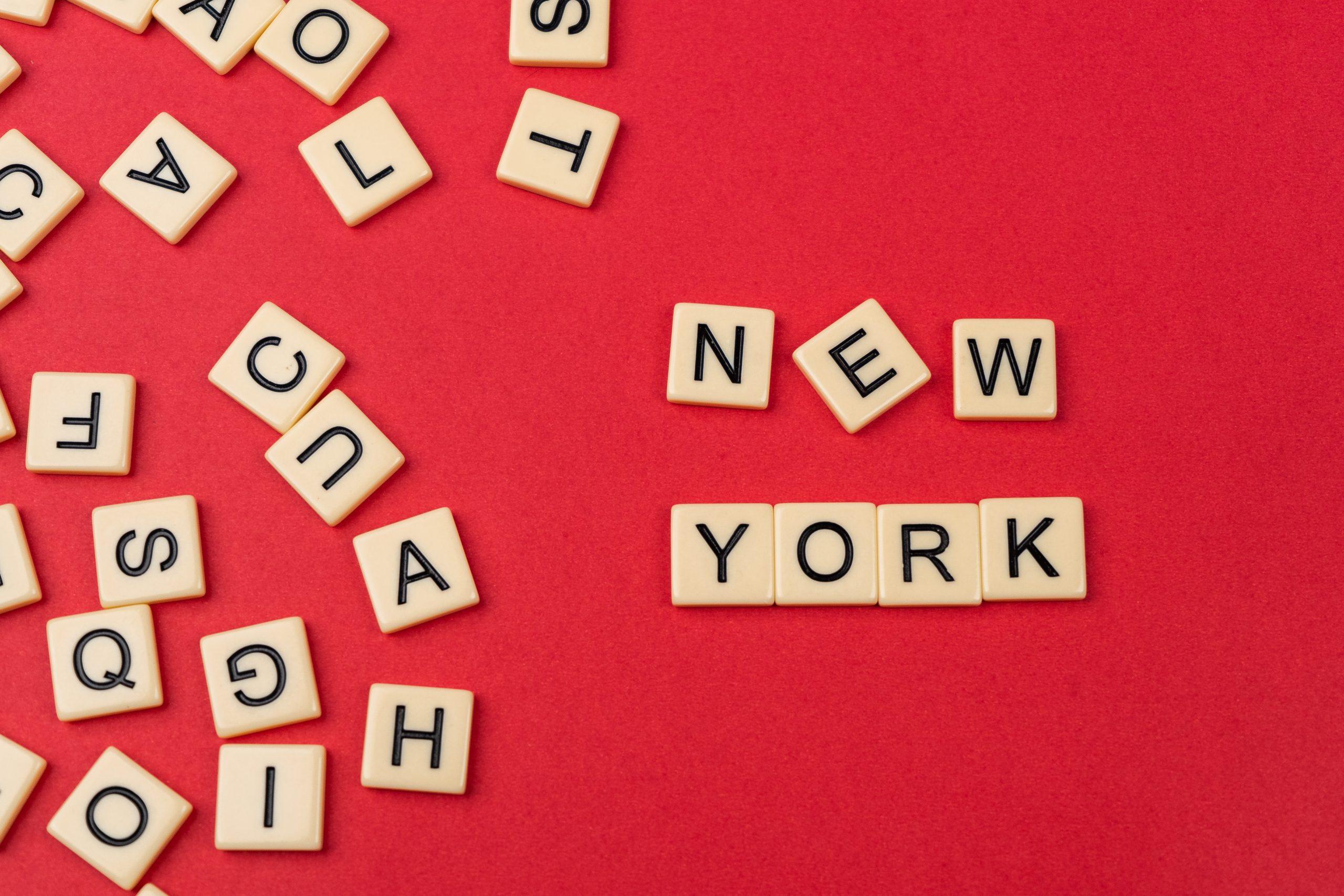New York written on scrabble
