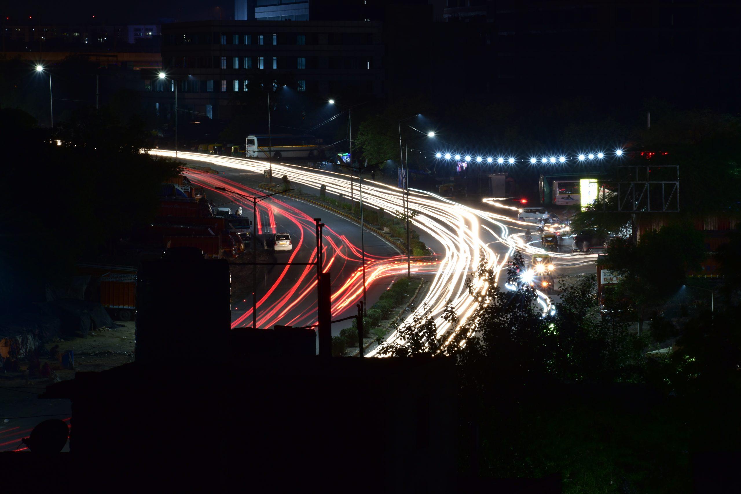 Streak of lights on the road