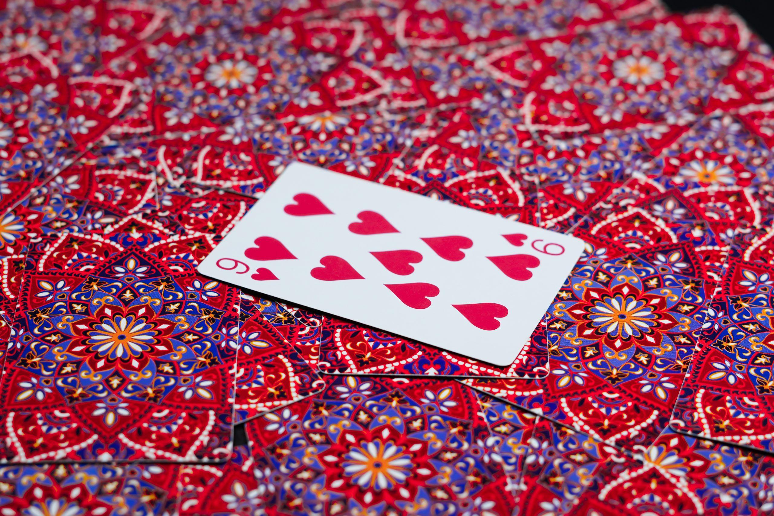 Nine of Heart Card on Focus