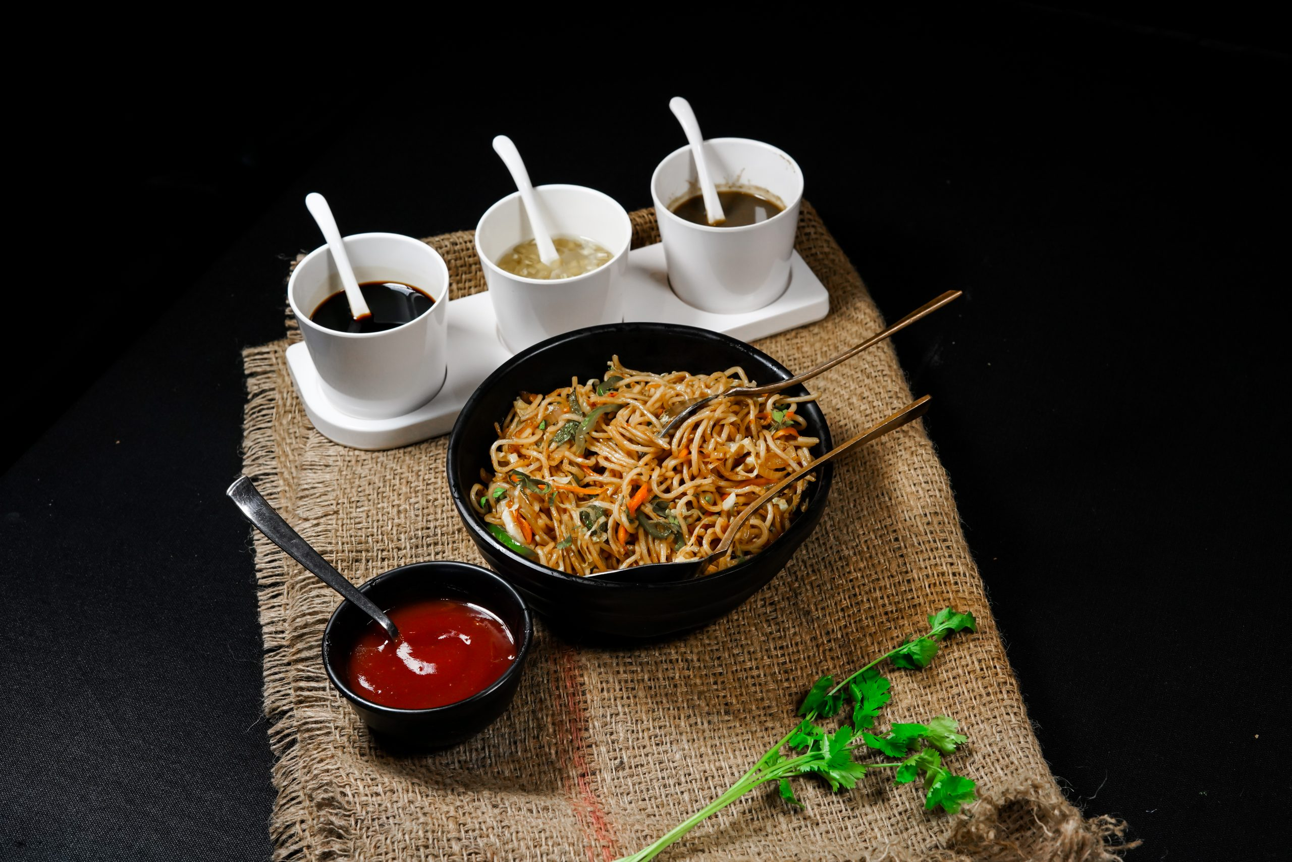 Noodles with soup cups
