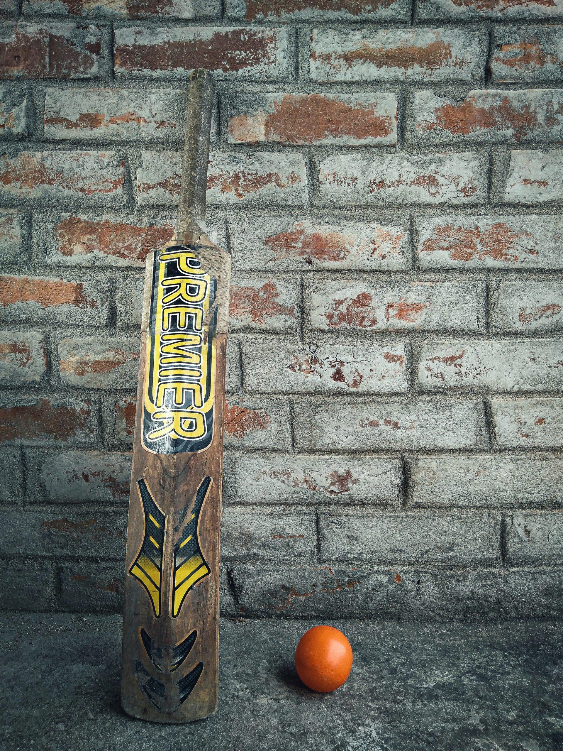 Old cricket bat and ball