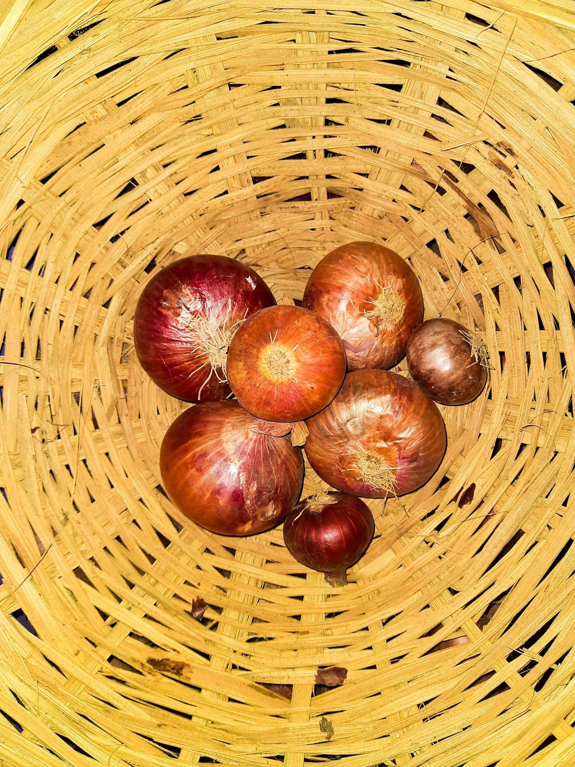 Onions in wicker basket
