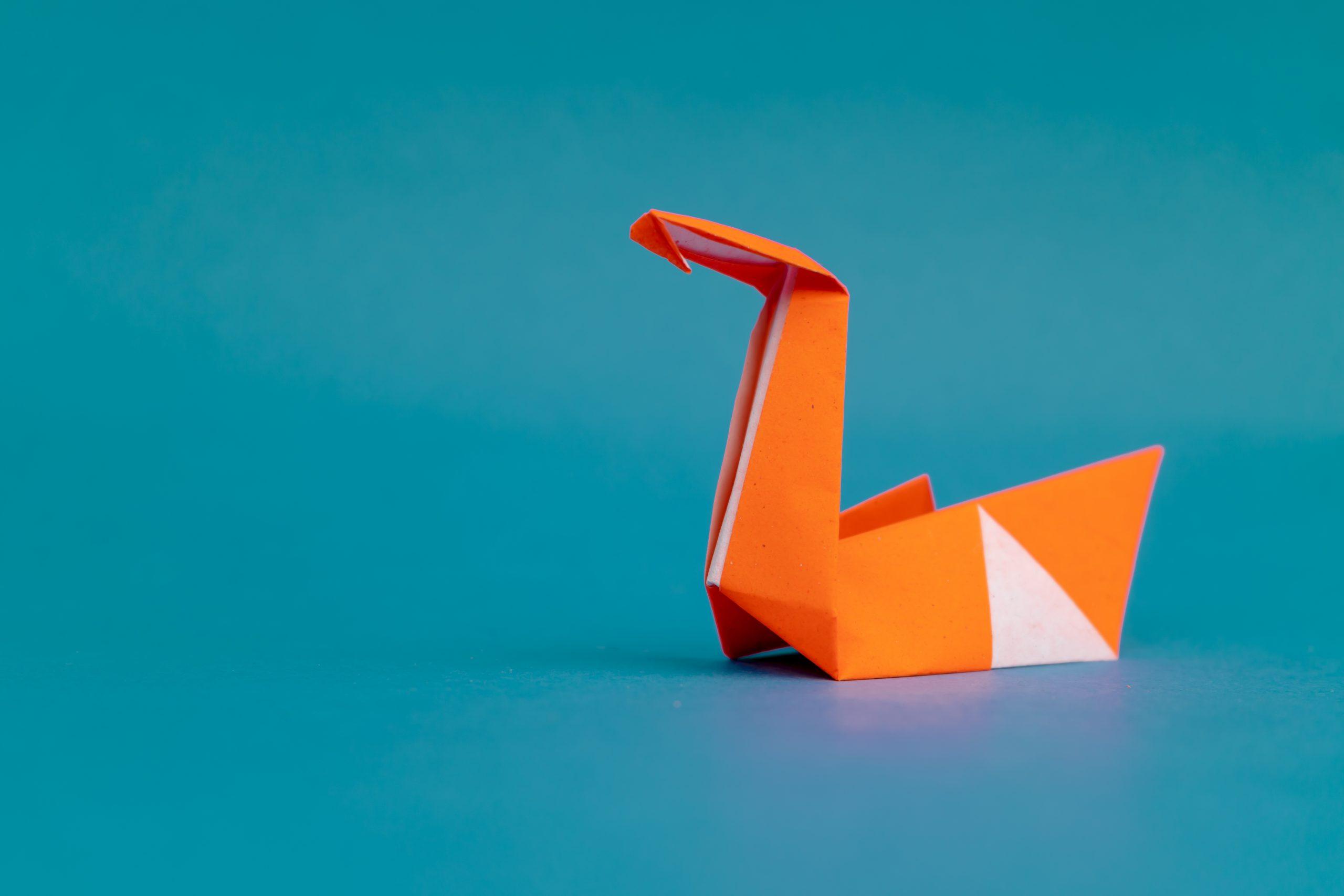 Orange swan origami
