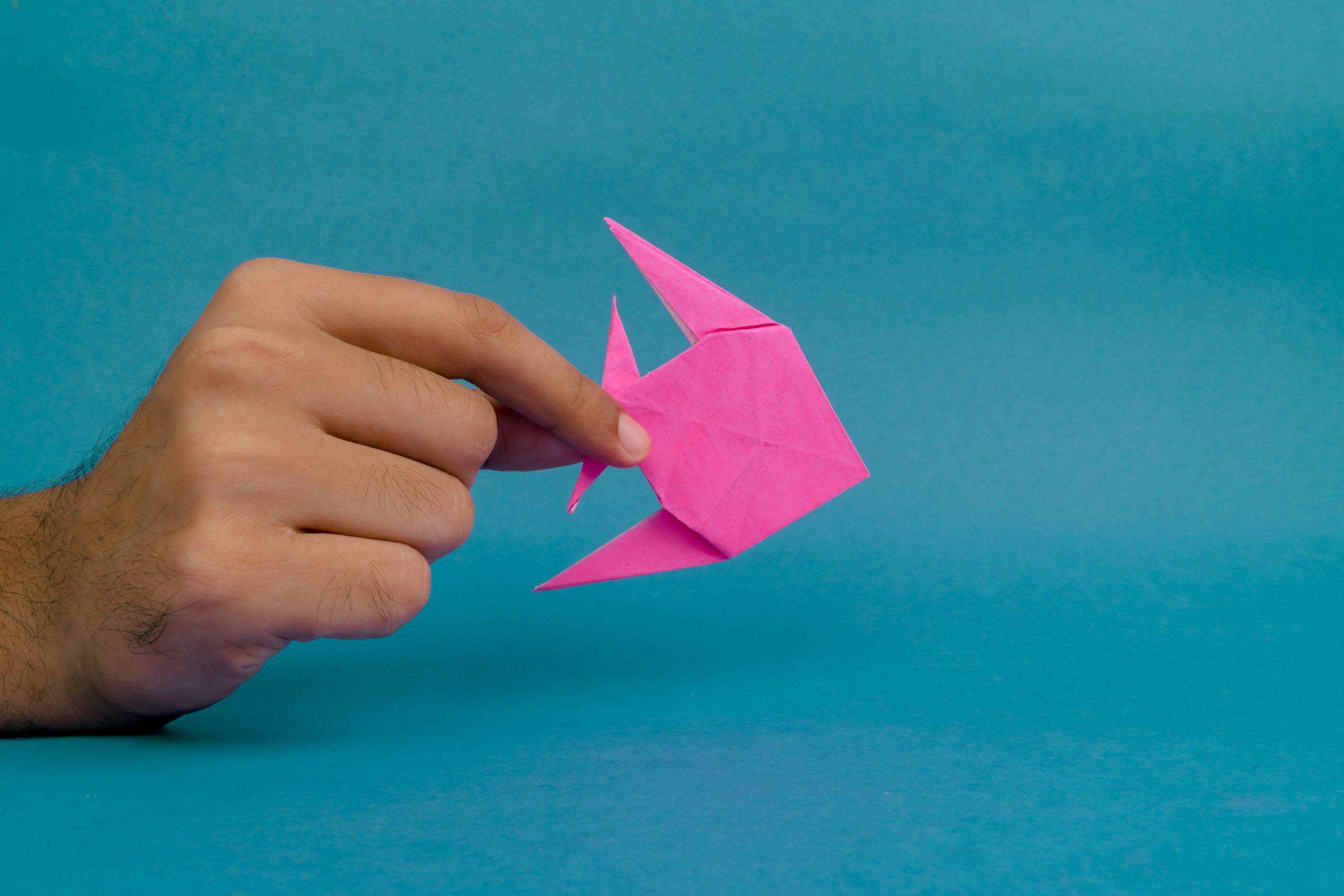 Origami fish in hand