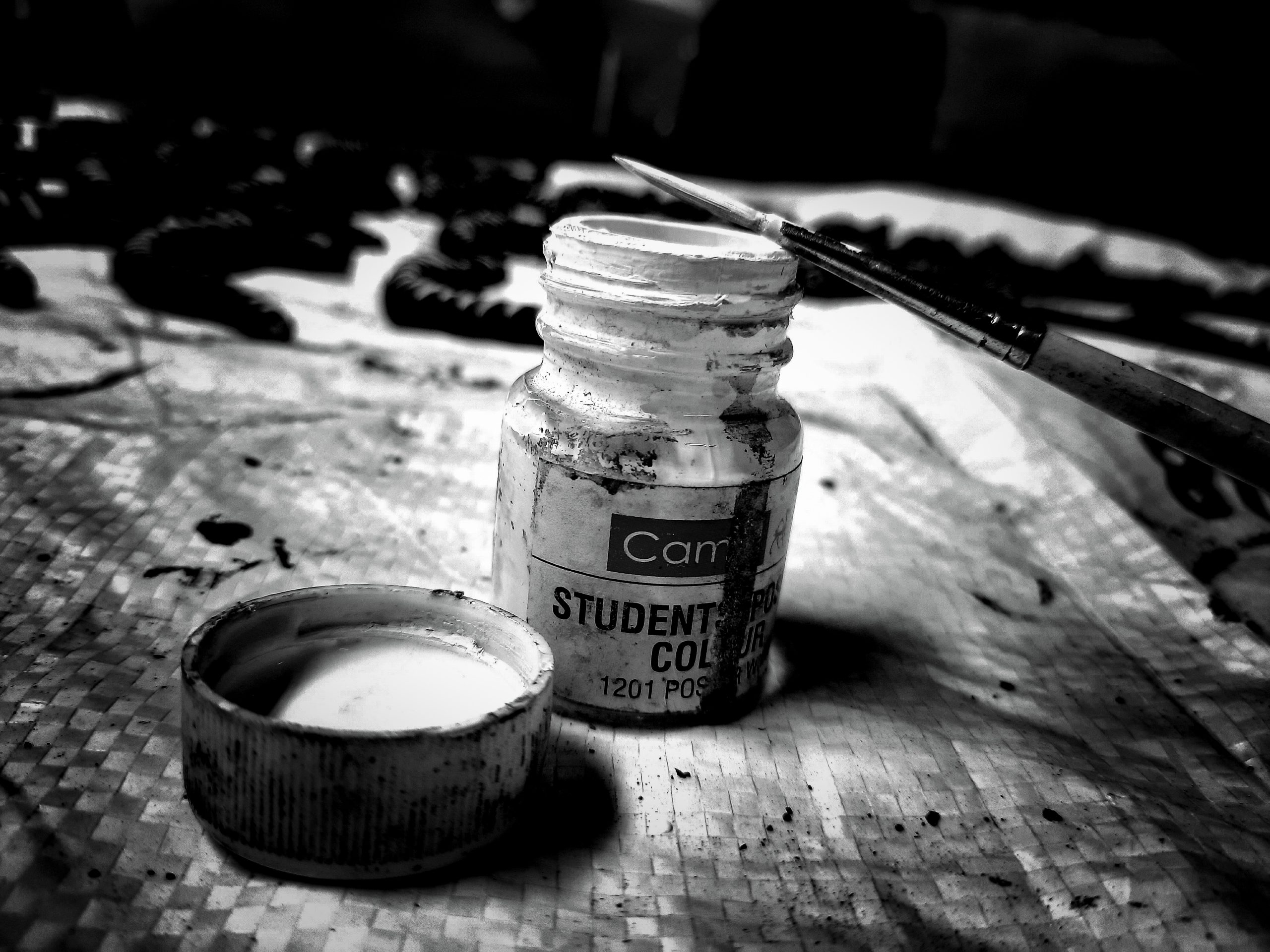 Painting ink with brush