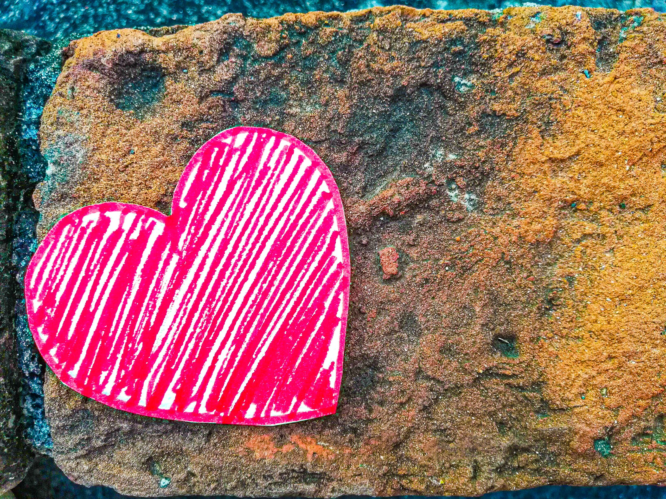 Paper heart on a stone