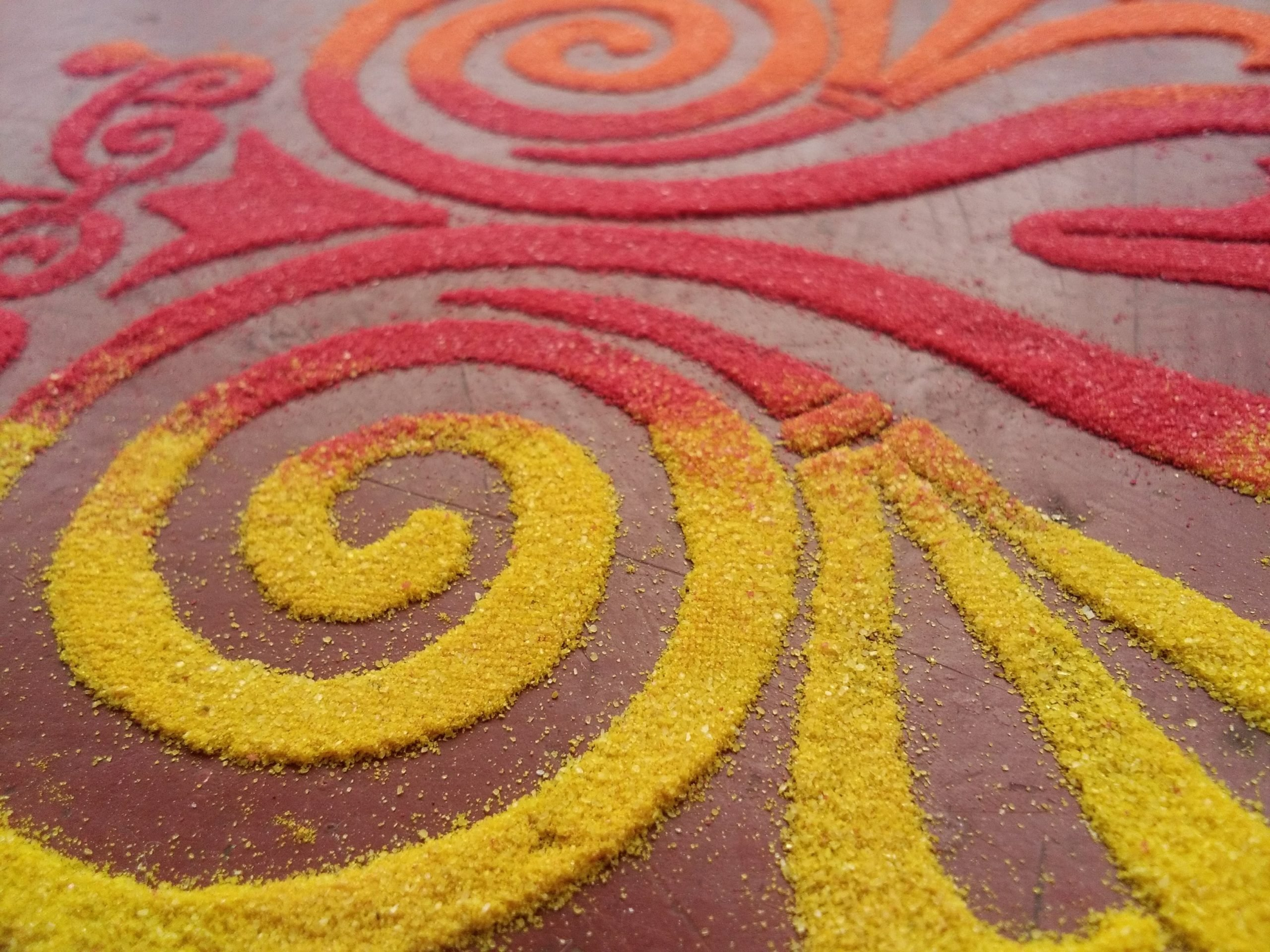 Patterns made with rice and colors