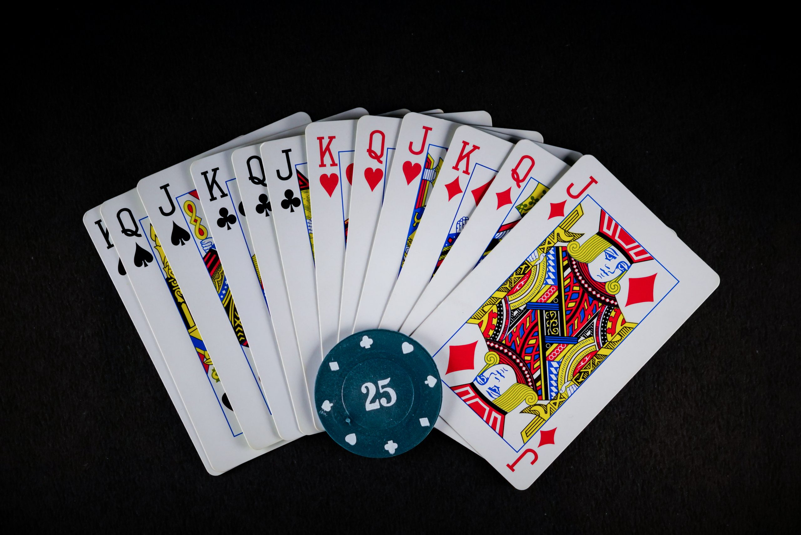 Playing card and blue poker