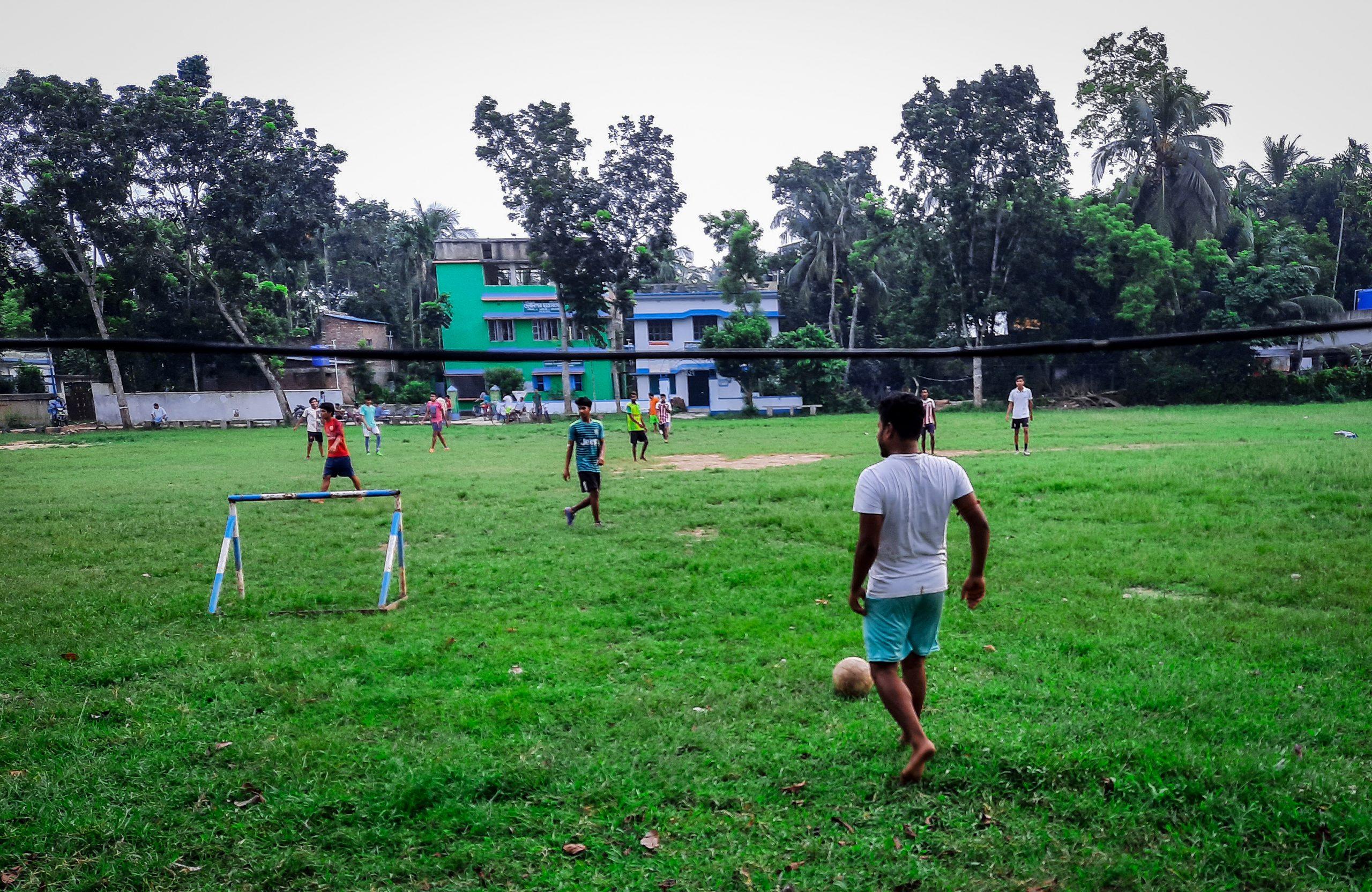 Playing football Kolkata's boys
