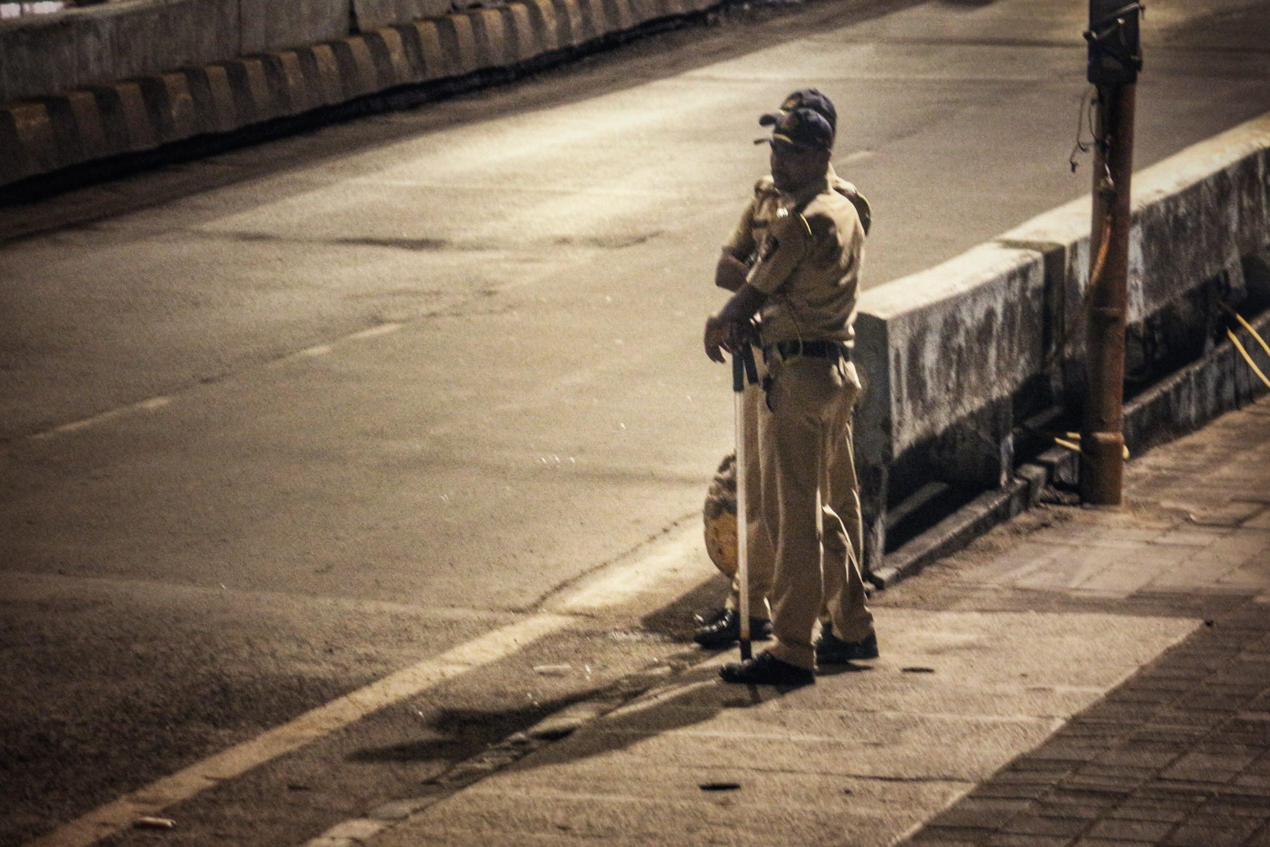 Police men on a road