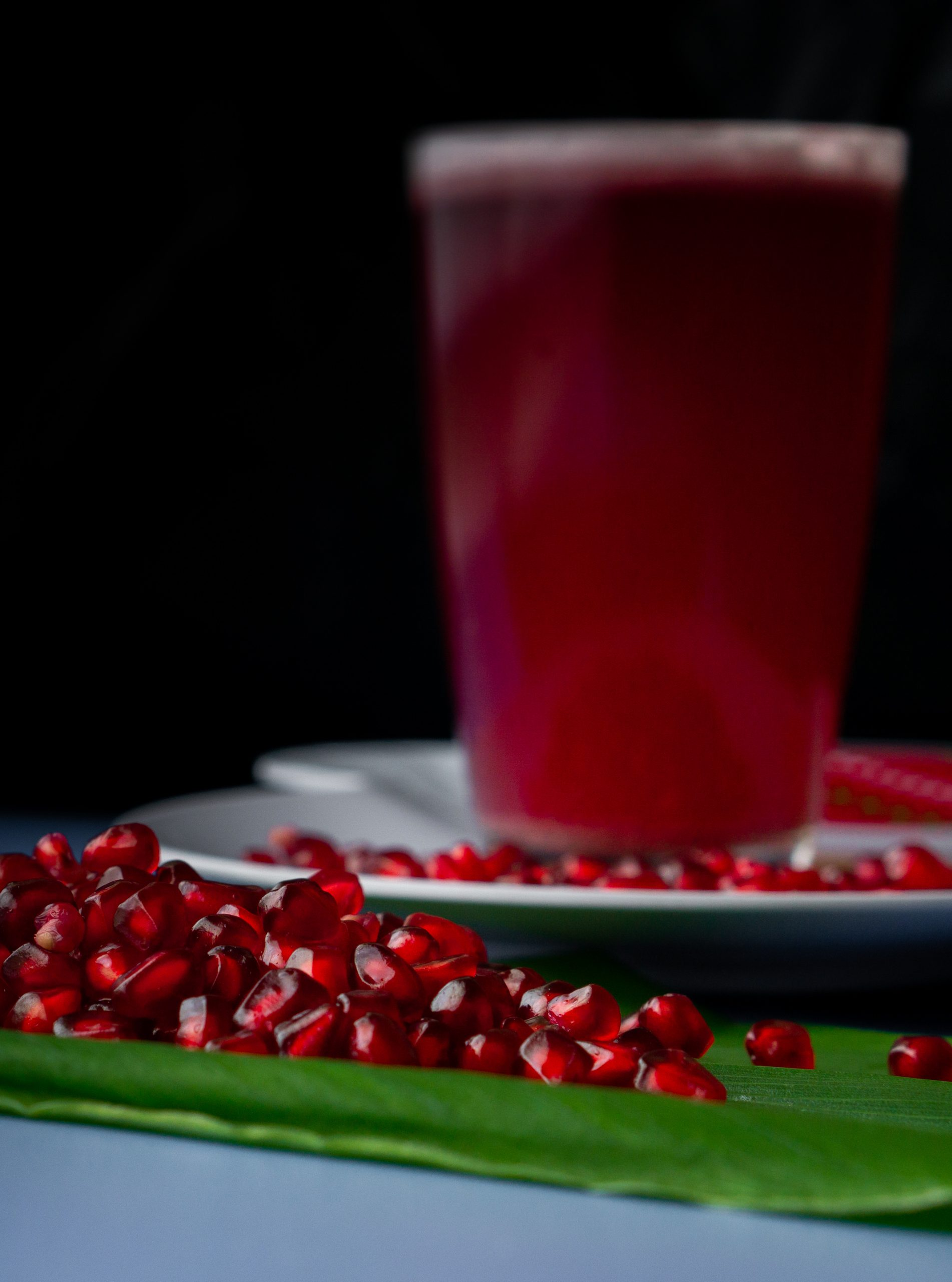 Pomegranate seeds and juice