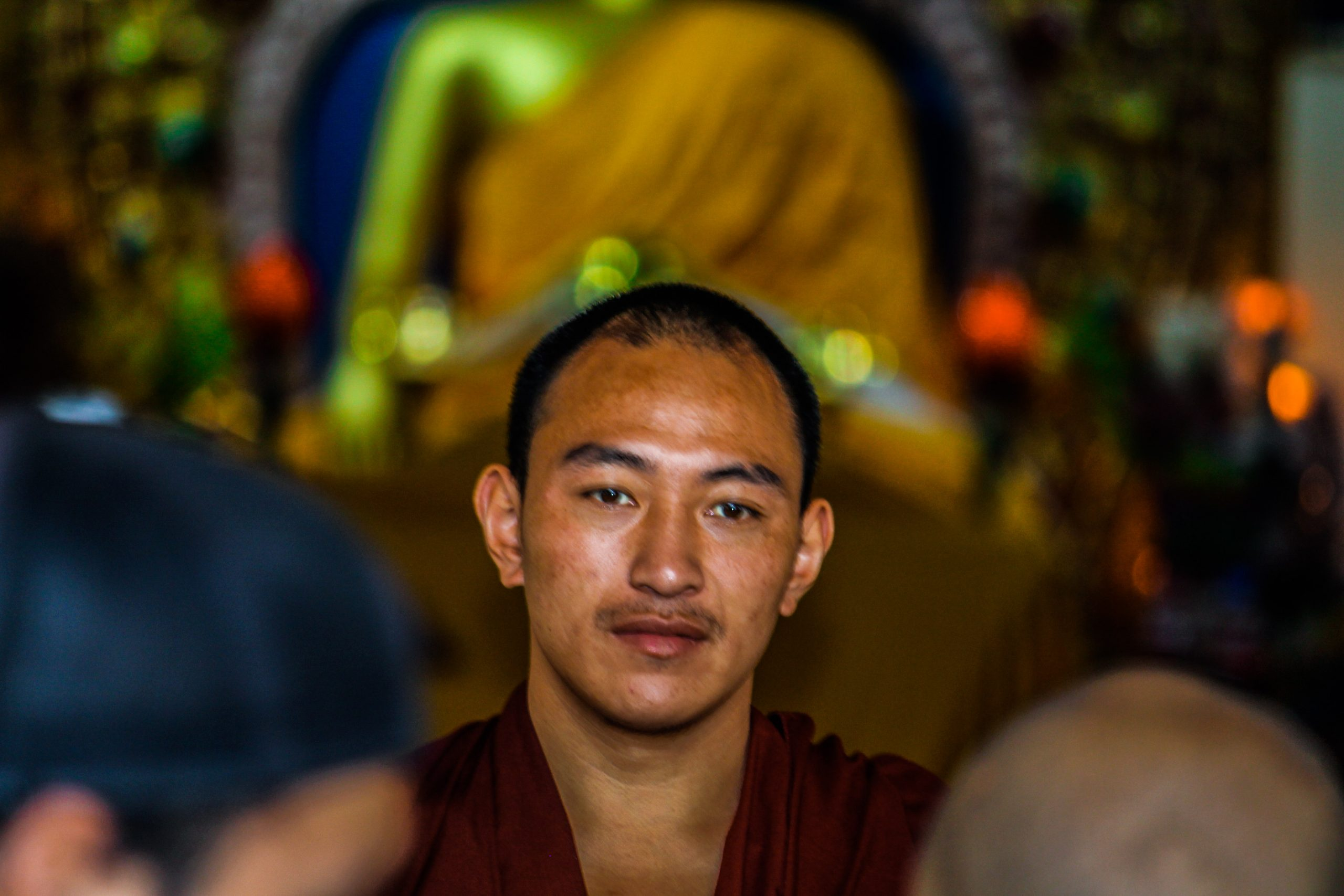 Portrait of a monk in Dalai Lama temple.