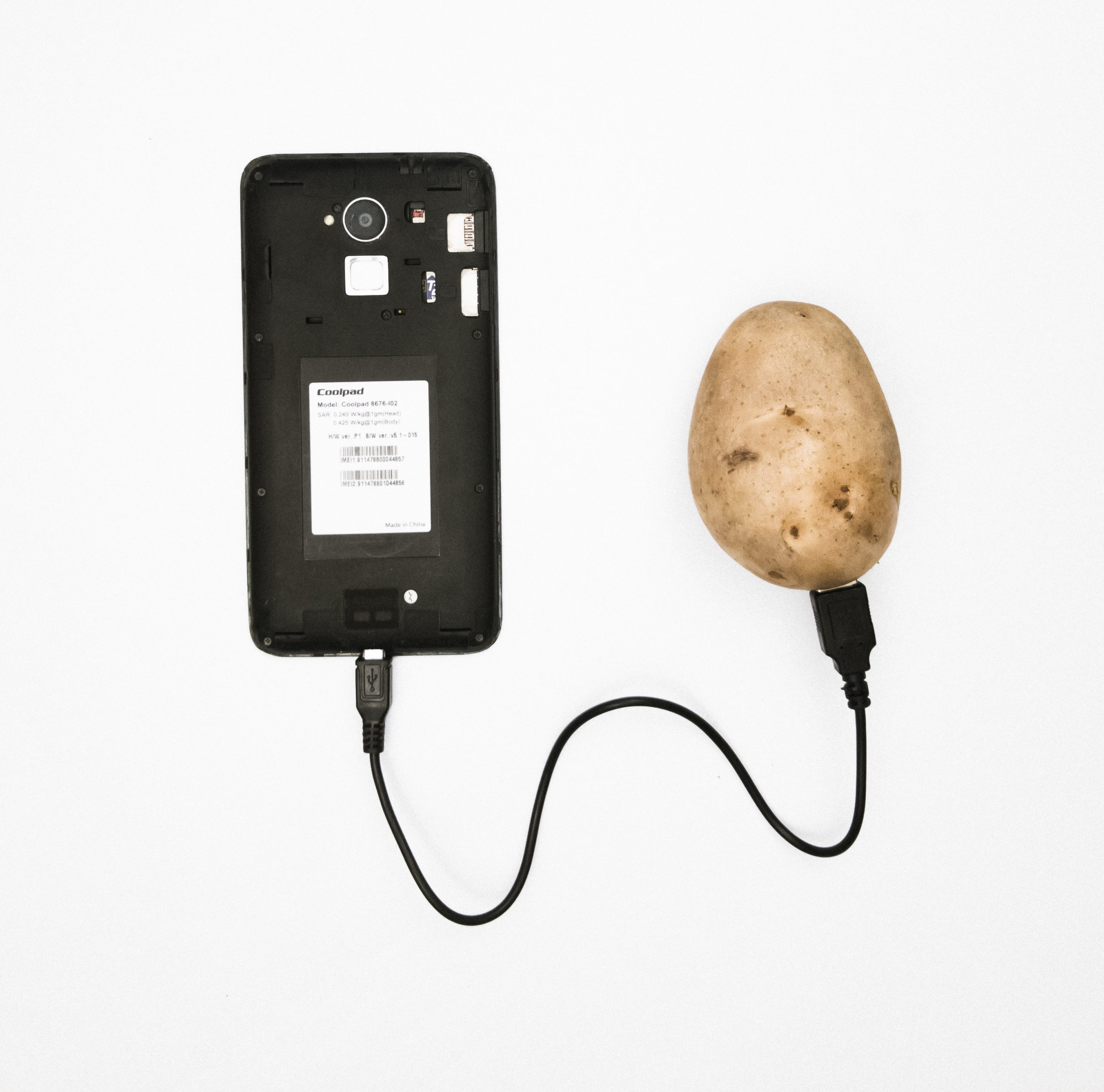 Potato, charger and cellphone