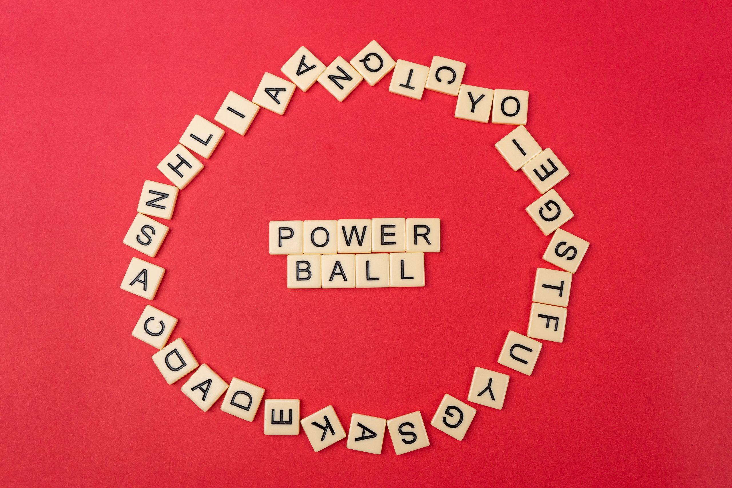 Power ball written on scrabble