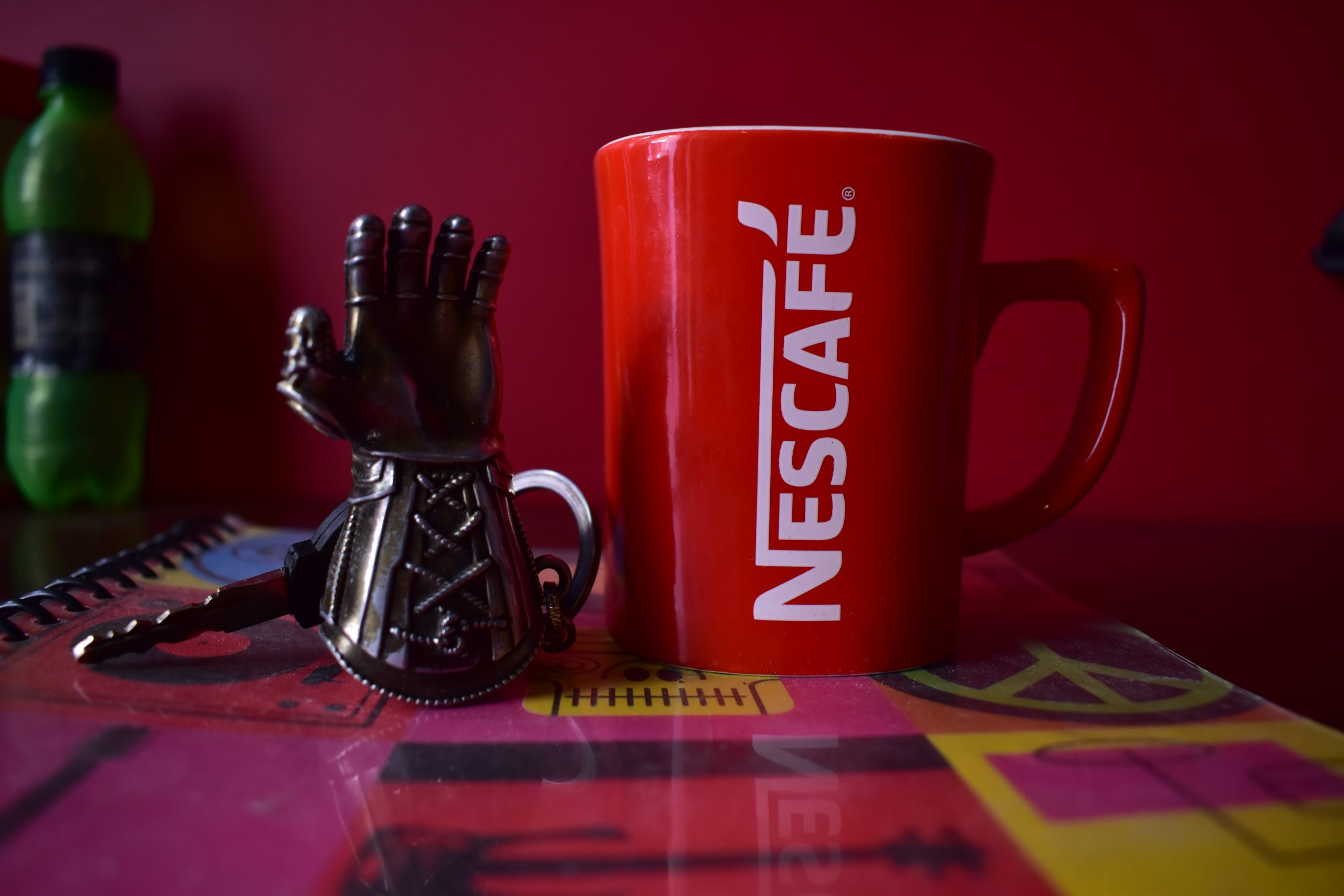Nescafe cup on the notebook