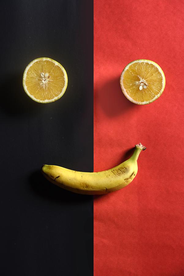 Smiley face with banana and lemons