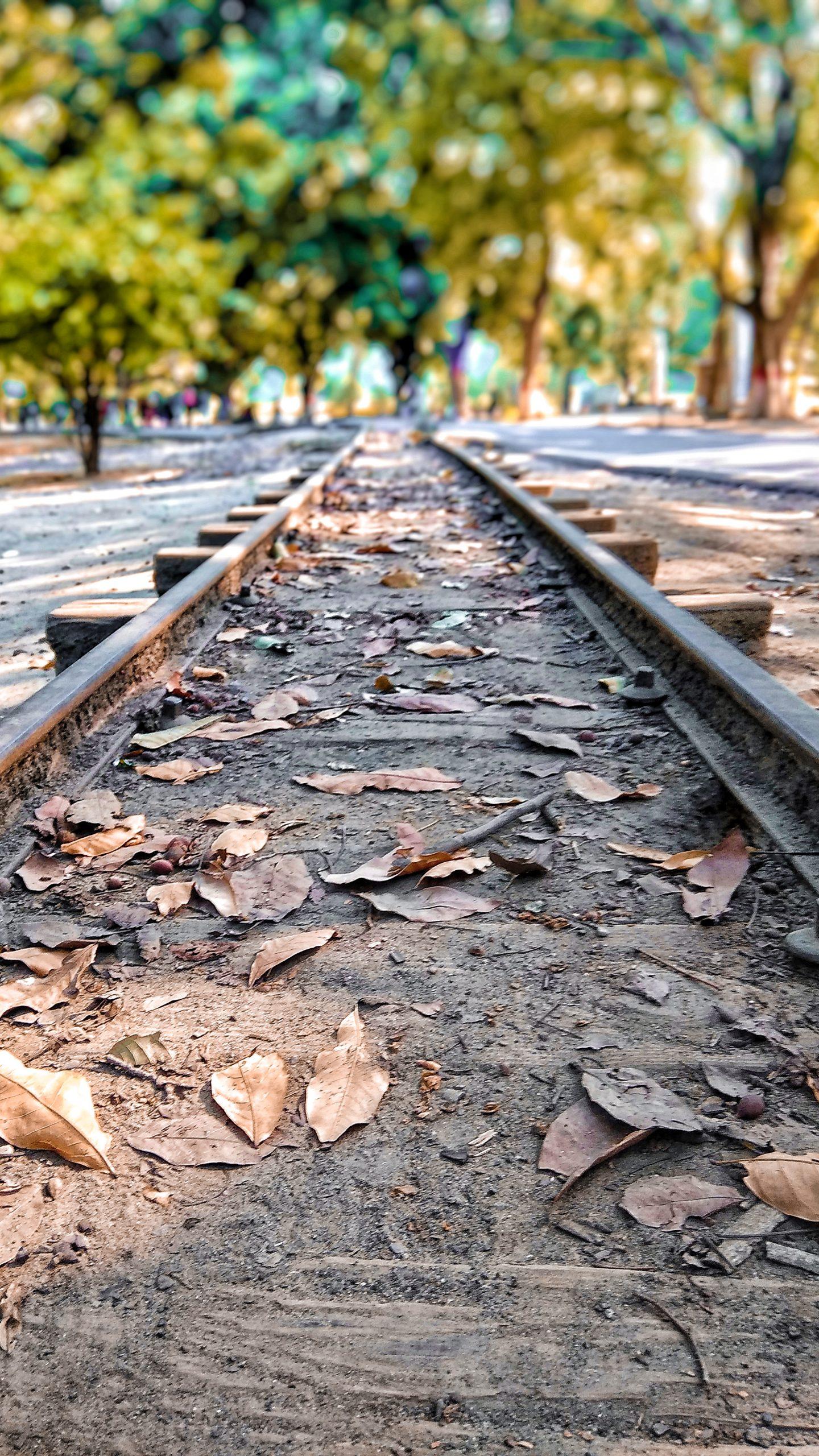 Closer look of a railroad track