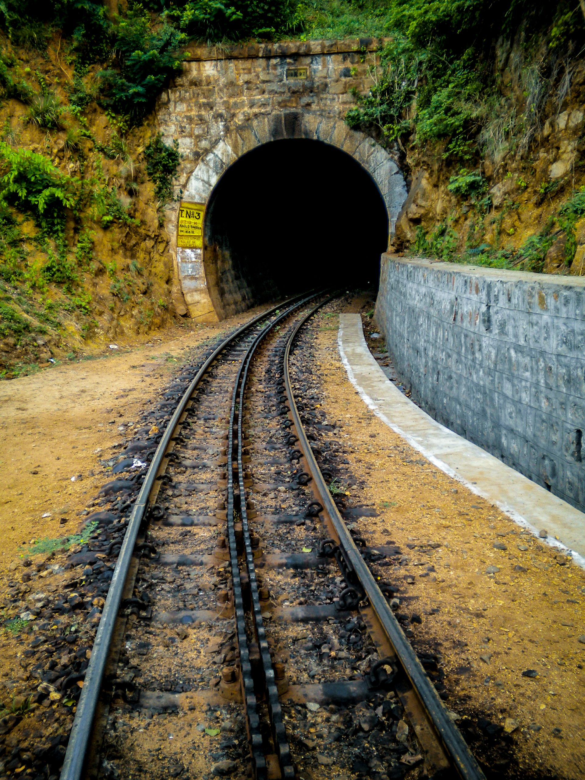 Railway track with tunnel at end - Ooty